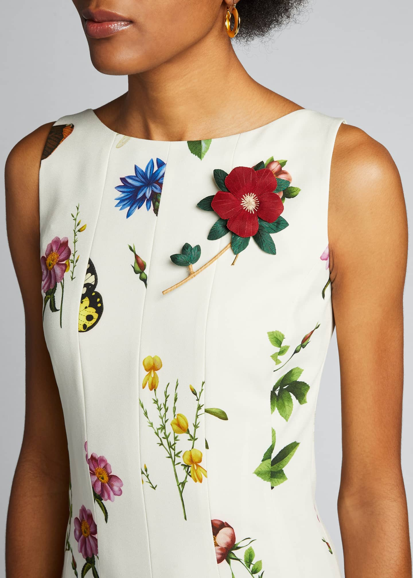 Image 4 of 5: Floral Print Pleated Dress