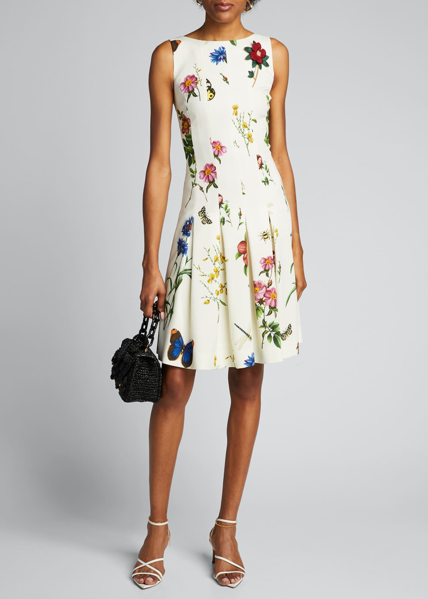 Image 1 of 5: Floral Print Pleated Dress