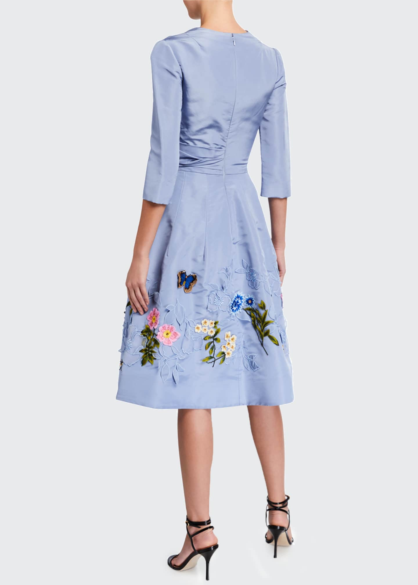 Image 2 of 2: Floral-Embroidered Taffeta Cocktail Dress