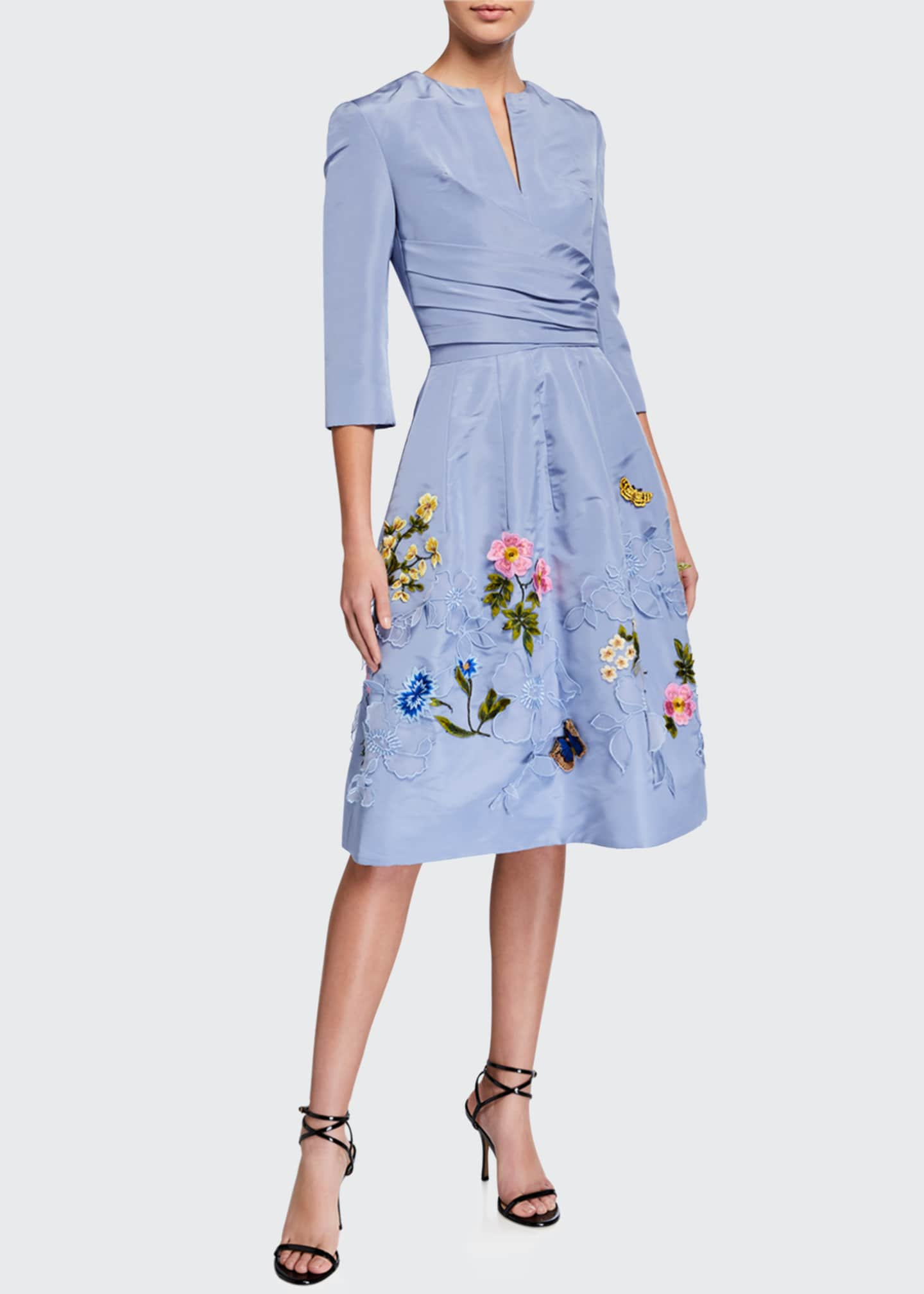 Image 1 of 2: Floral-Embroidered Taffeta Cocktail Dress