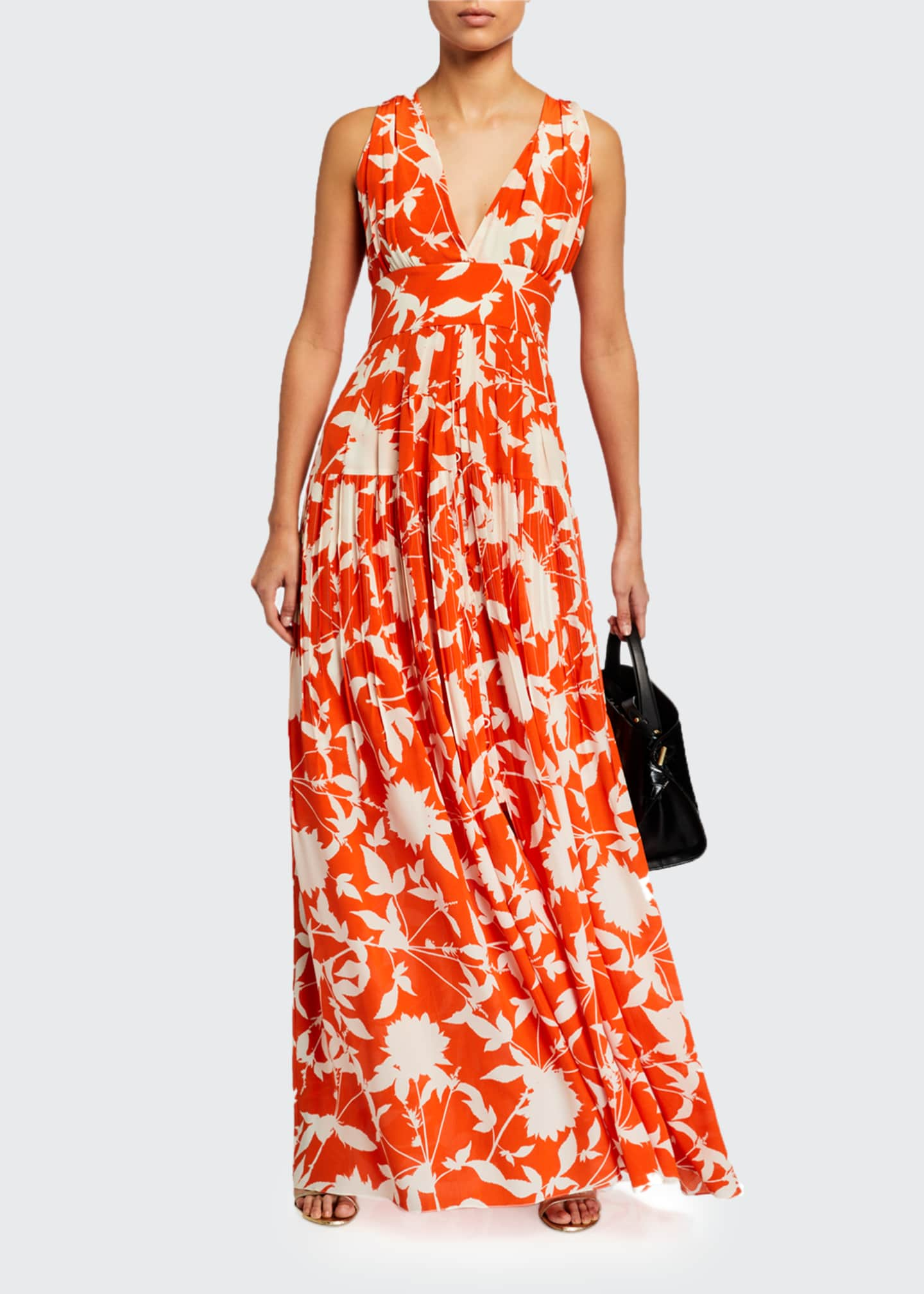 Image 1 of 3: Leaf Print Silk Day Dress