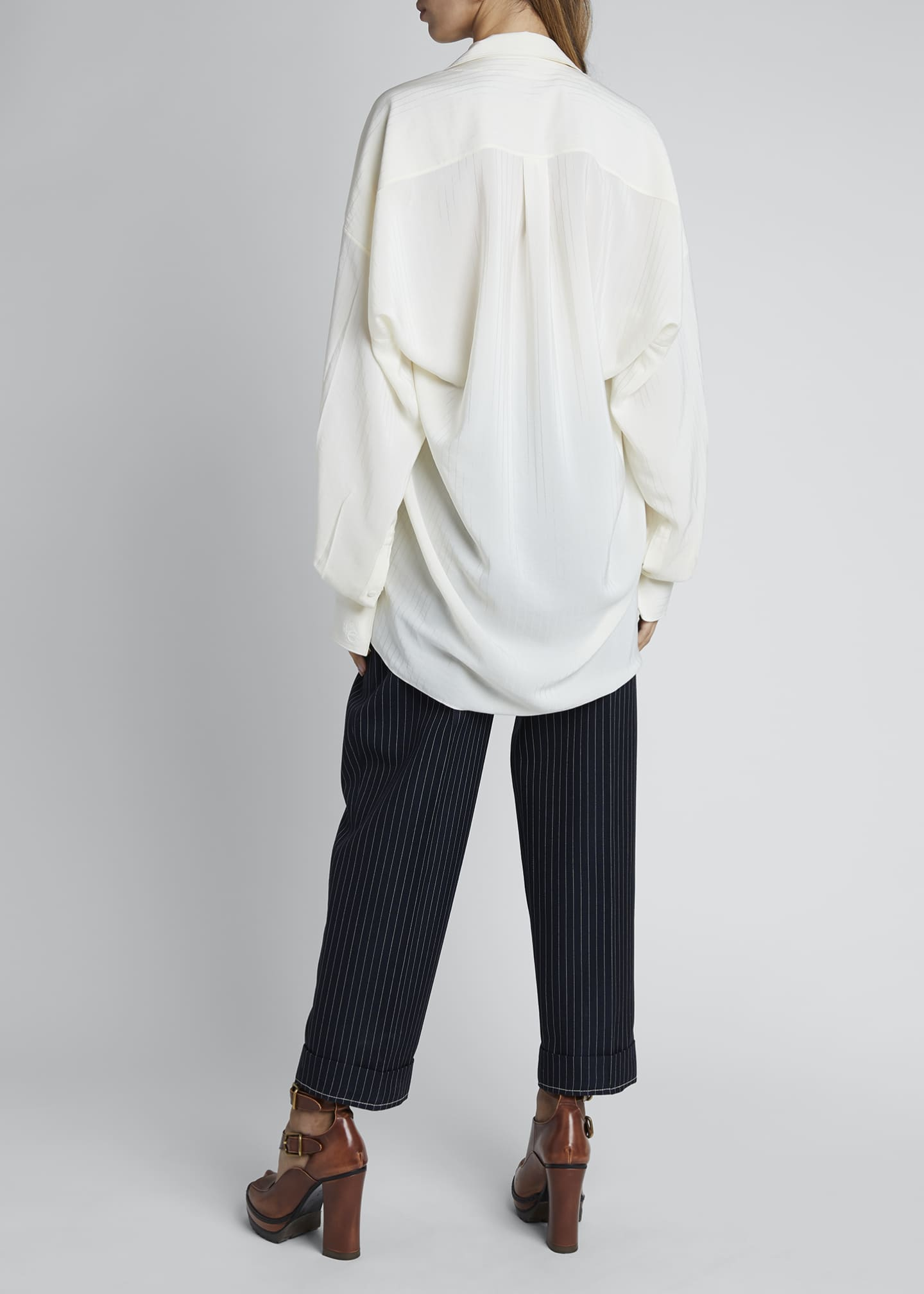 Image 2 of 3: Silk Jacquard Long-Sleeve Tie-Neck Blouse