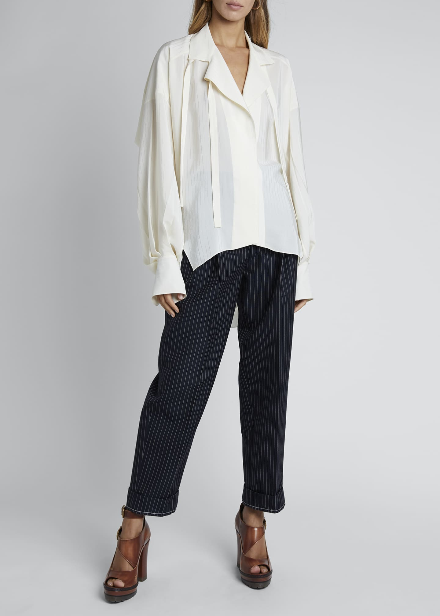 Image 1 of 3: Silk Jacquard Long-Sleeve Tie-Neck Blouse