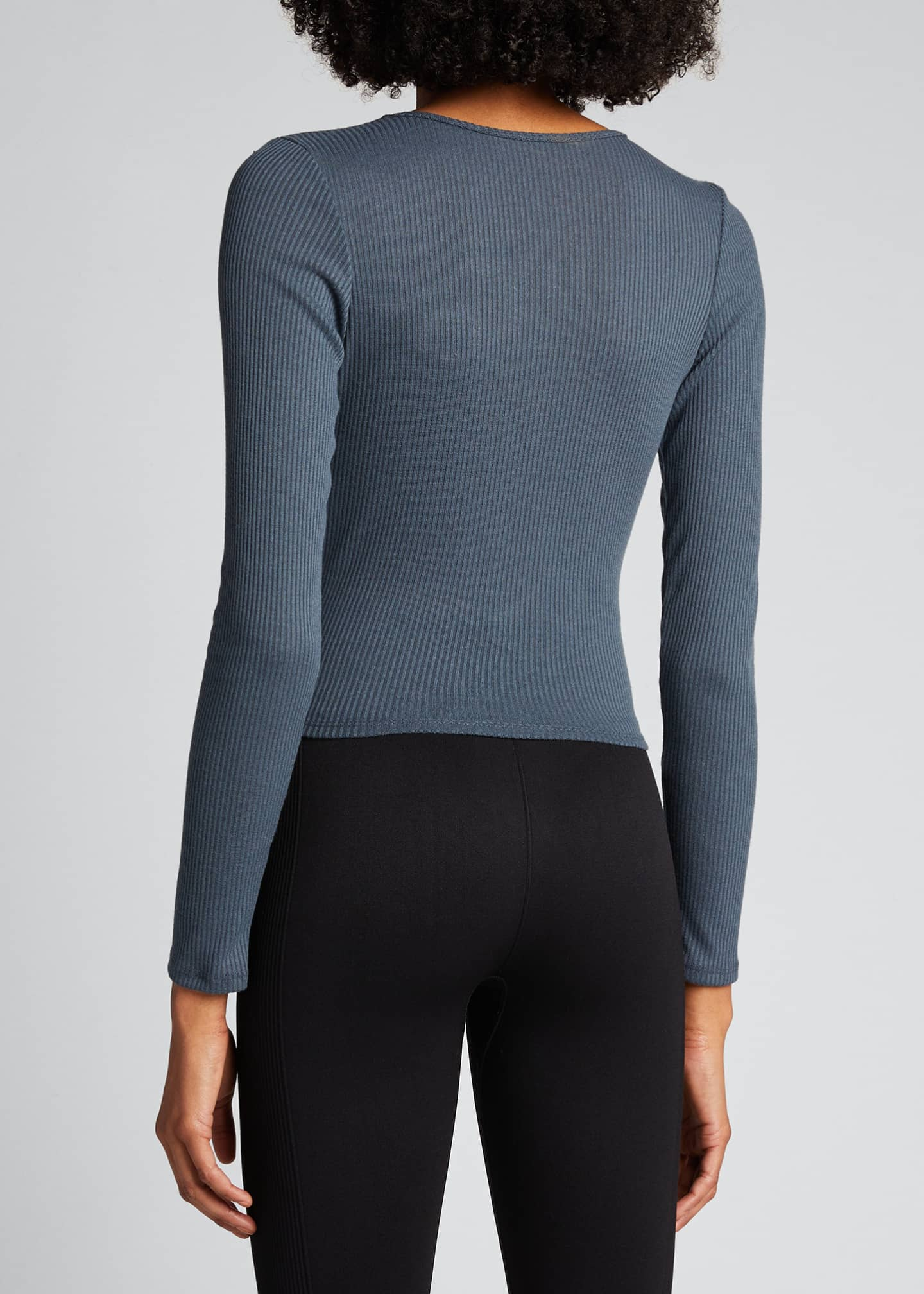 Image 2 of 5: Twirl Long-Sleeve Knot-Front Crop Top