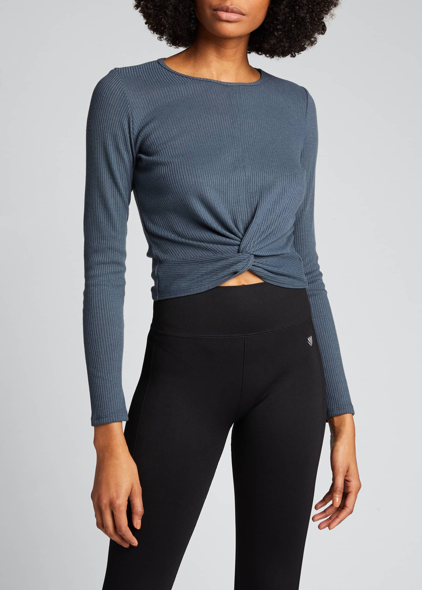 Image 3 of 5: Twirl Long-Sleeve Knot-Front Crop Top