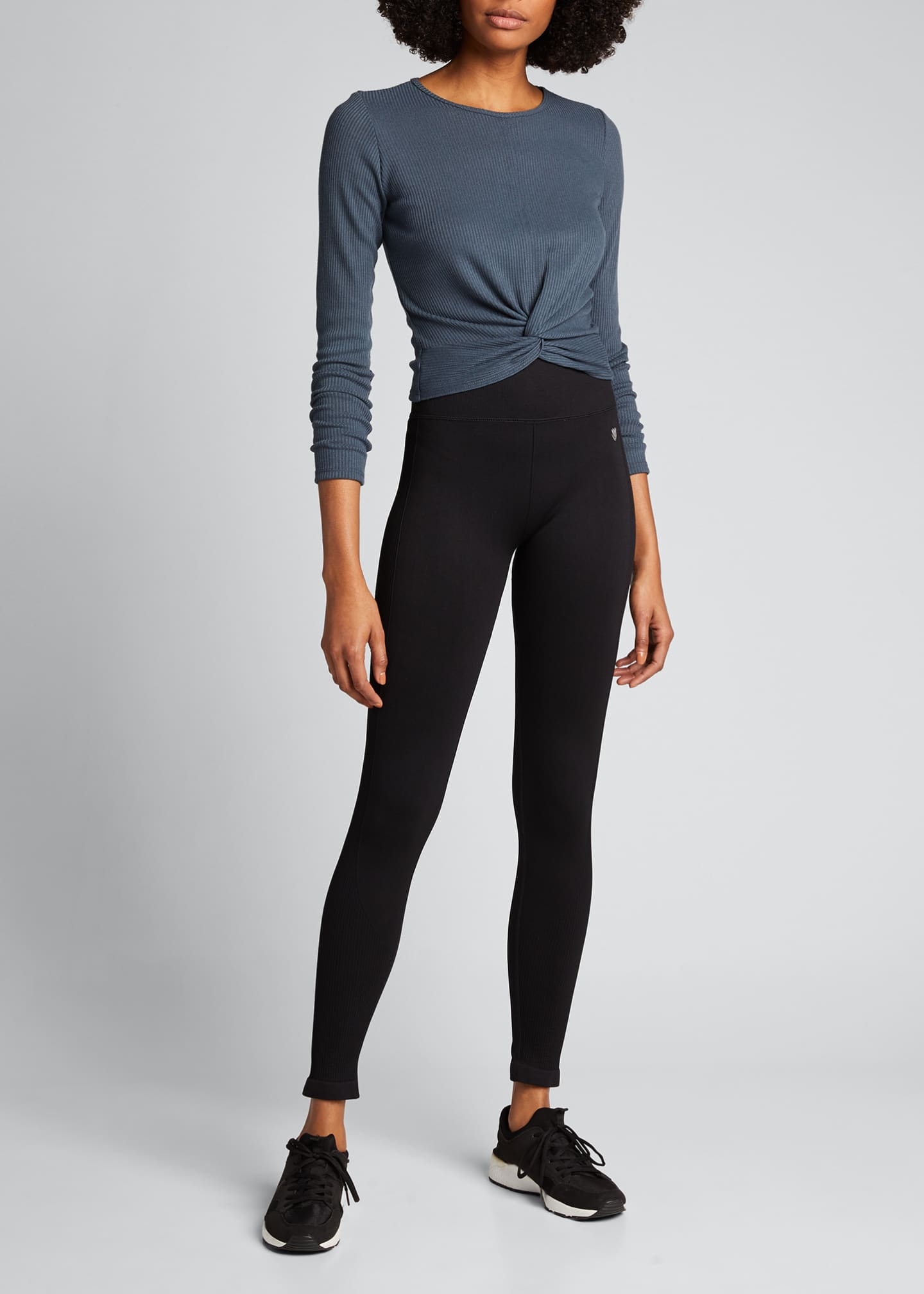 Image 1 of 5: Twirl Long-Sleeve Knot-Front Crop Top