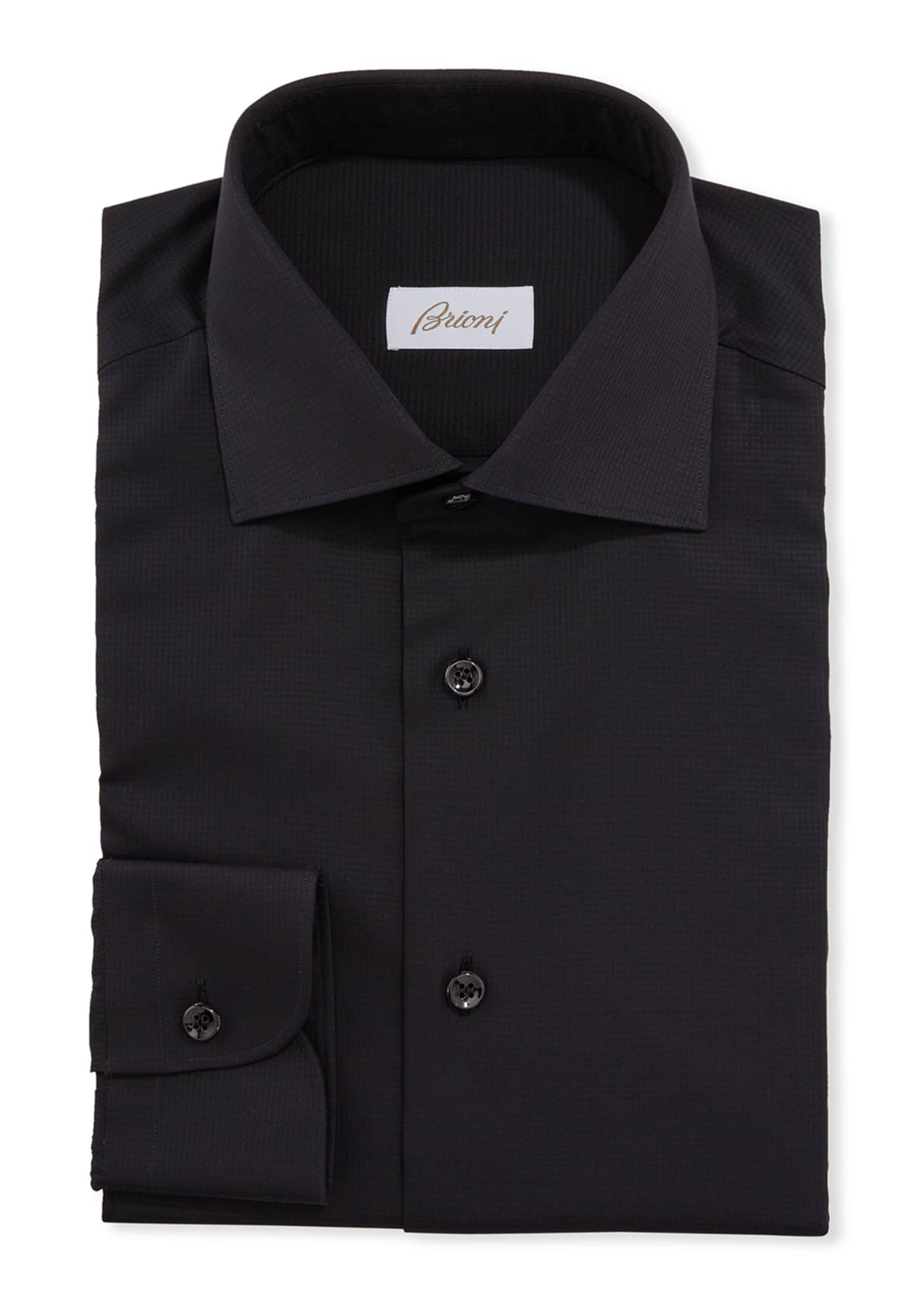 Image 1 of 2: Men's Textured Solid Dress Shirt