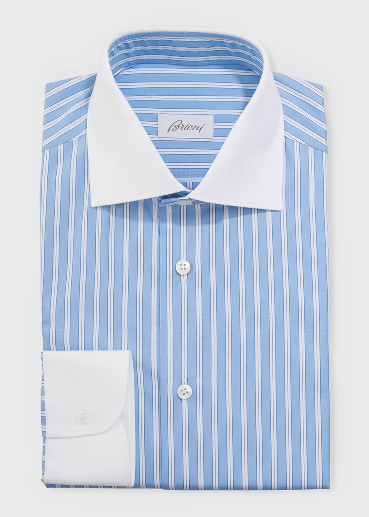 Image 1 of 2: Men's Contrast-Trim Striped Dress Shirt