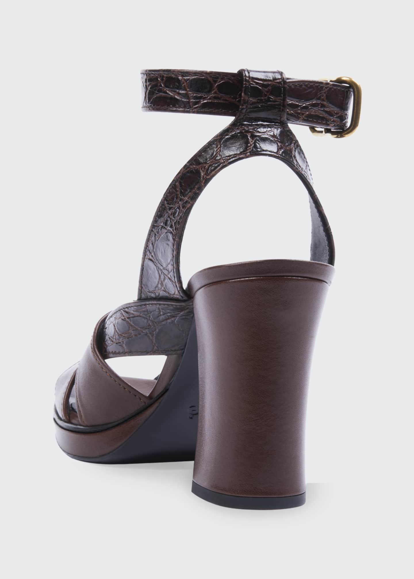 Image 3 of 3: Daisy Croc-Print Leather Platform Sandals