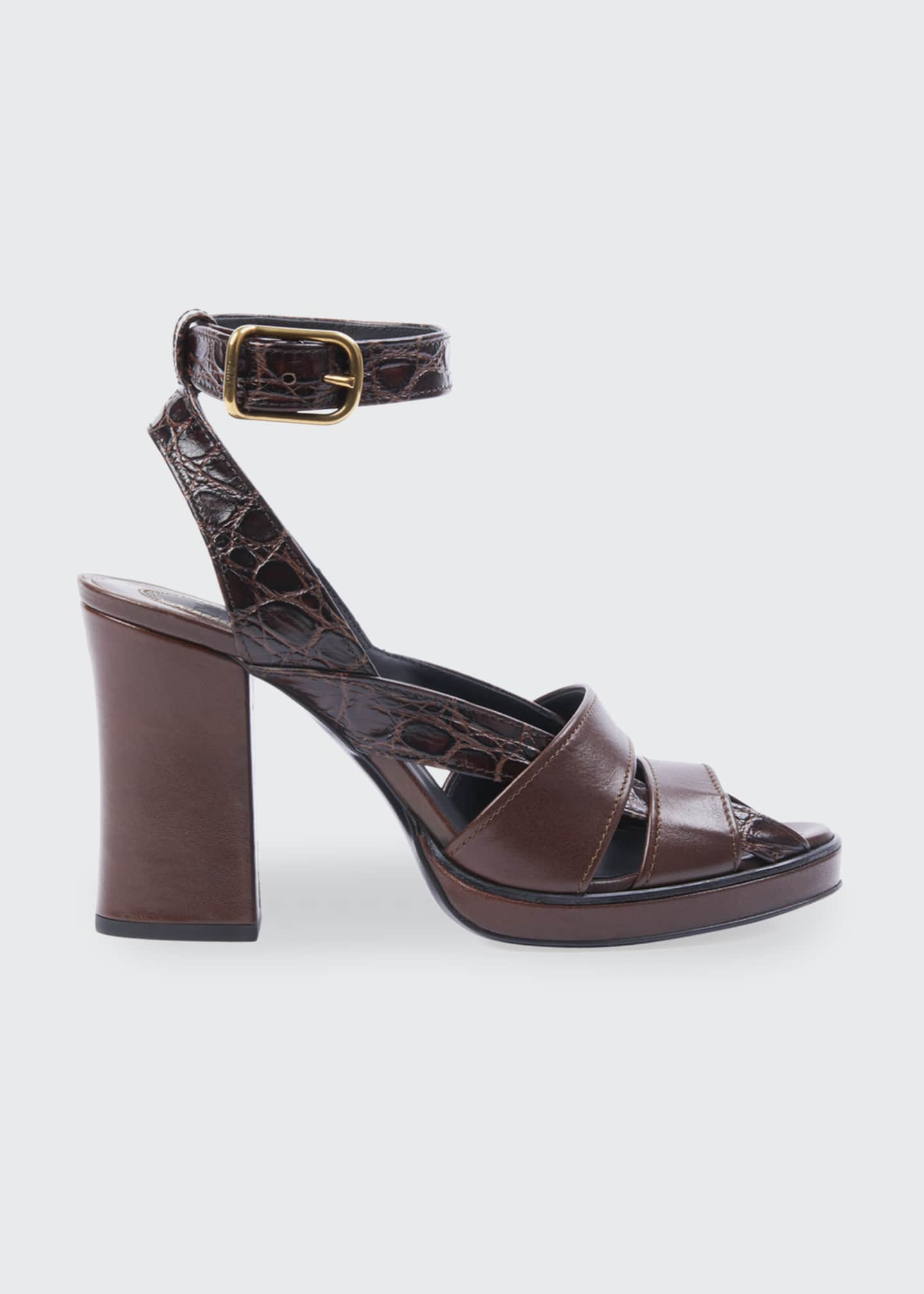 Image 1 of 3: Daisy Croc-Print Leather Platform Sandals