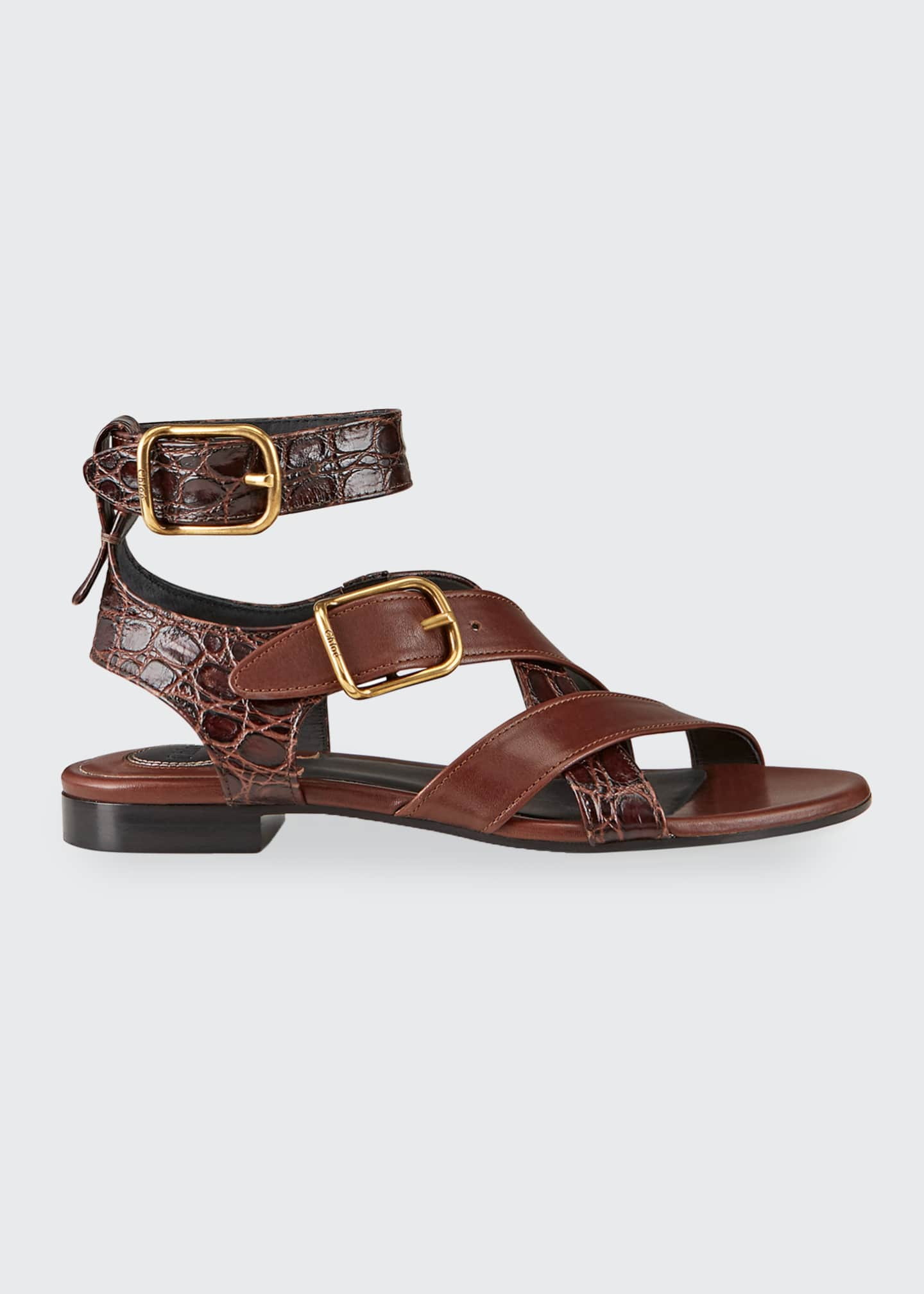 Image 1 of 3: Daisy Mixed Leather Strappy Sandals