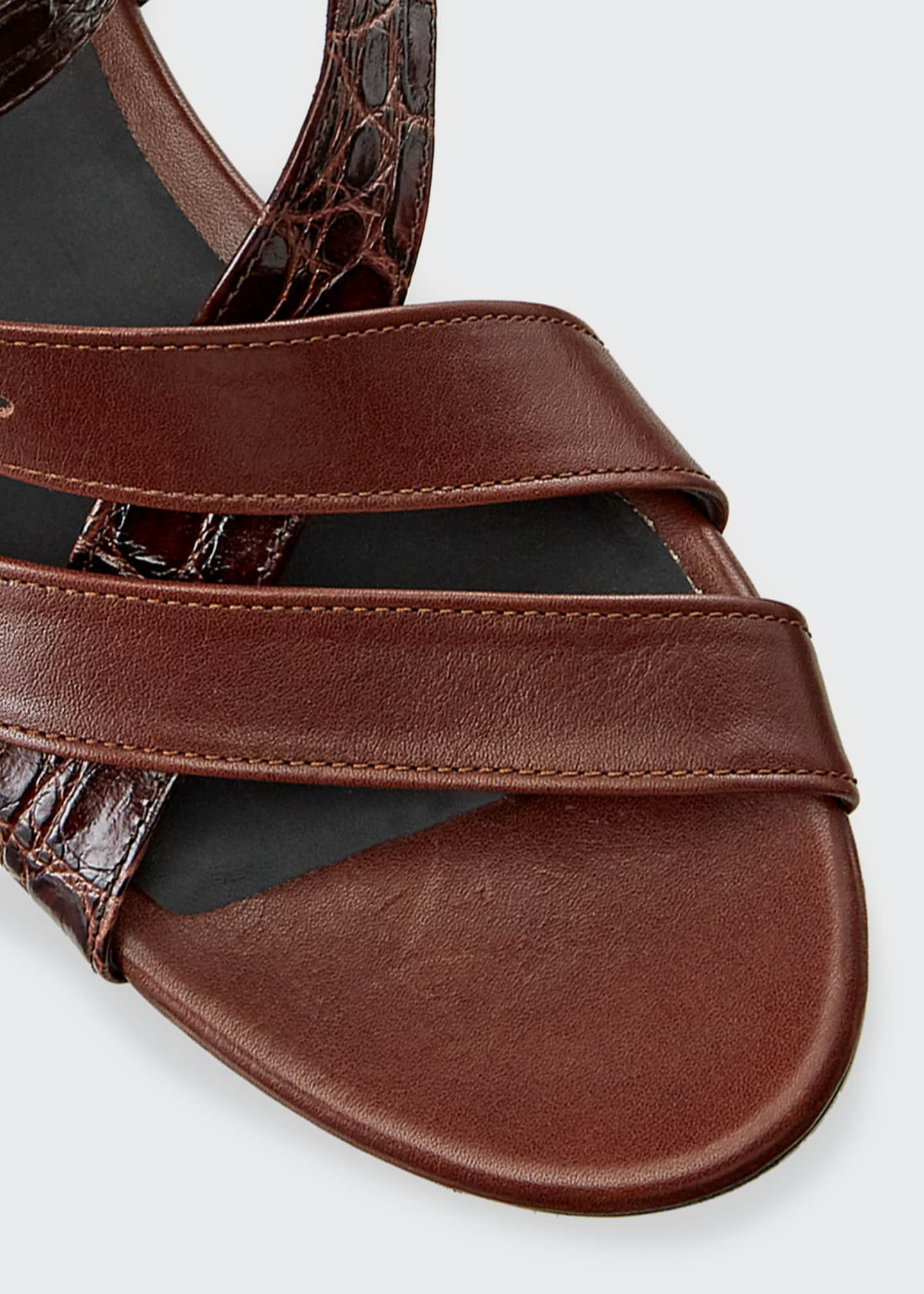 Image 3 of 3: Daisy Mixed Leather Strappy Sandals