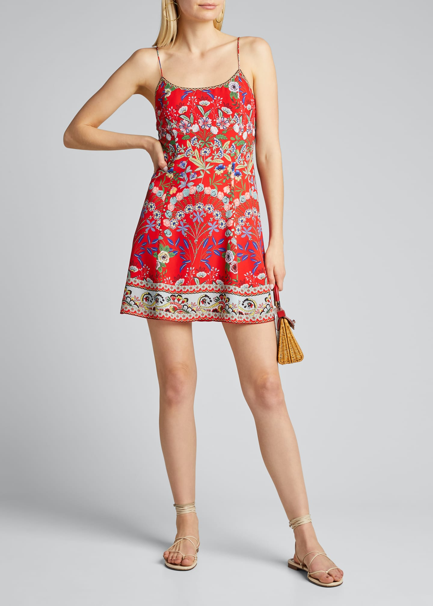 Image 1 of 5: Ira Spaghetti-Strap Flare Dress