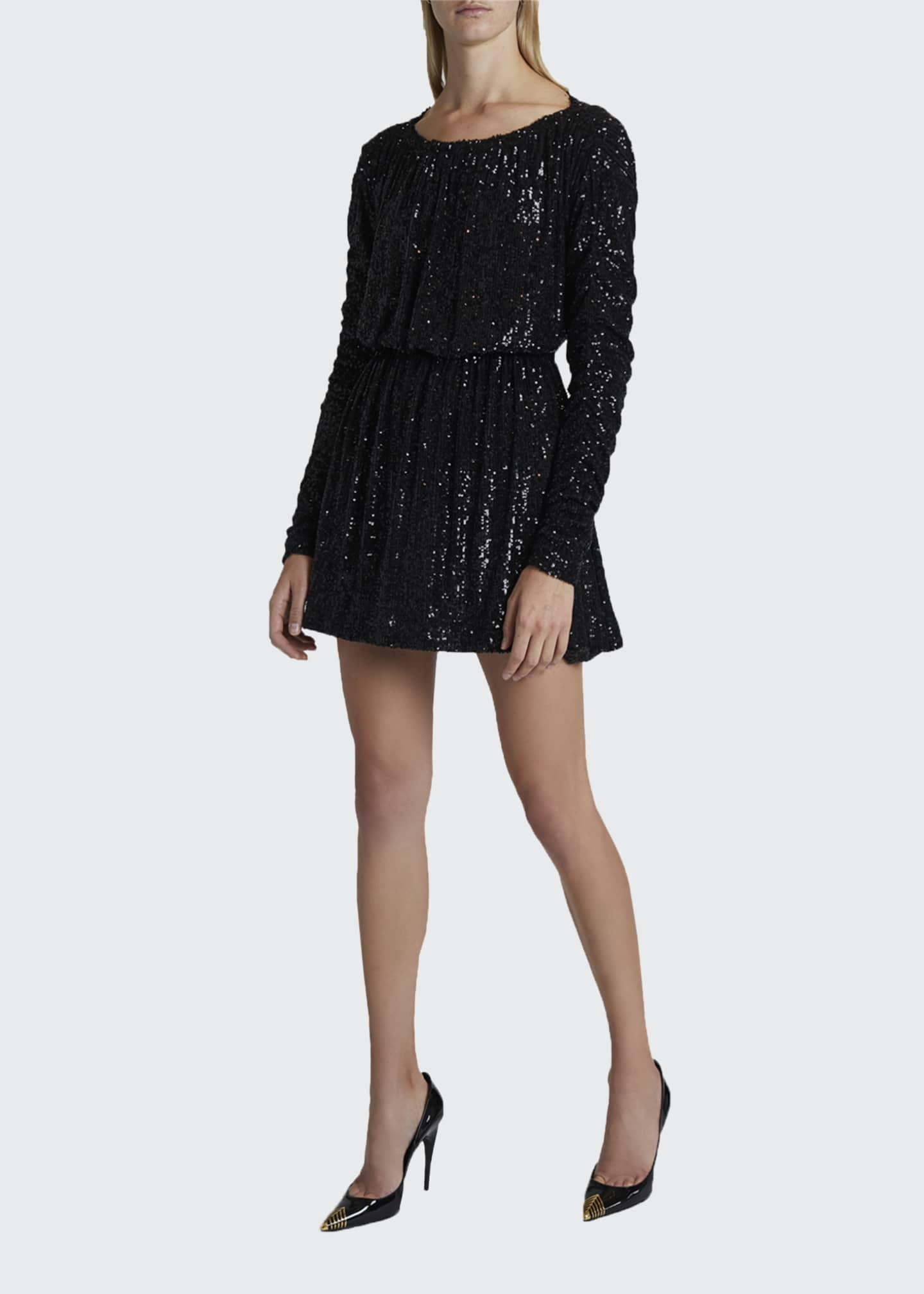 Image 3 of 4: Sequined Tie-Waist Cocktail Dress