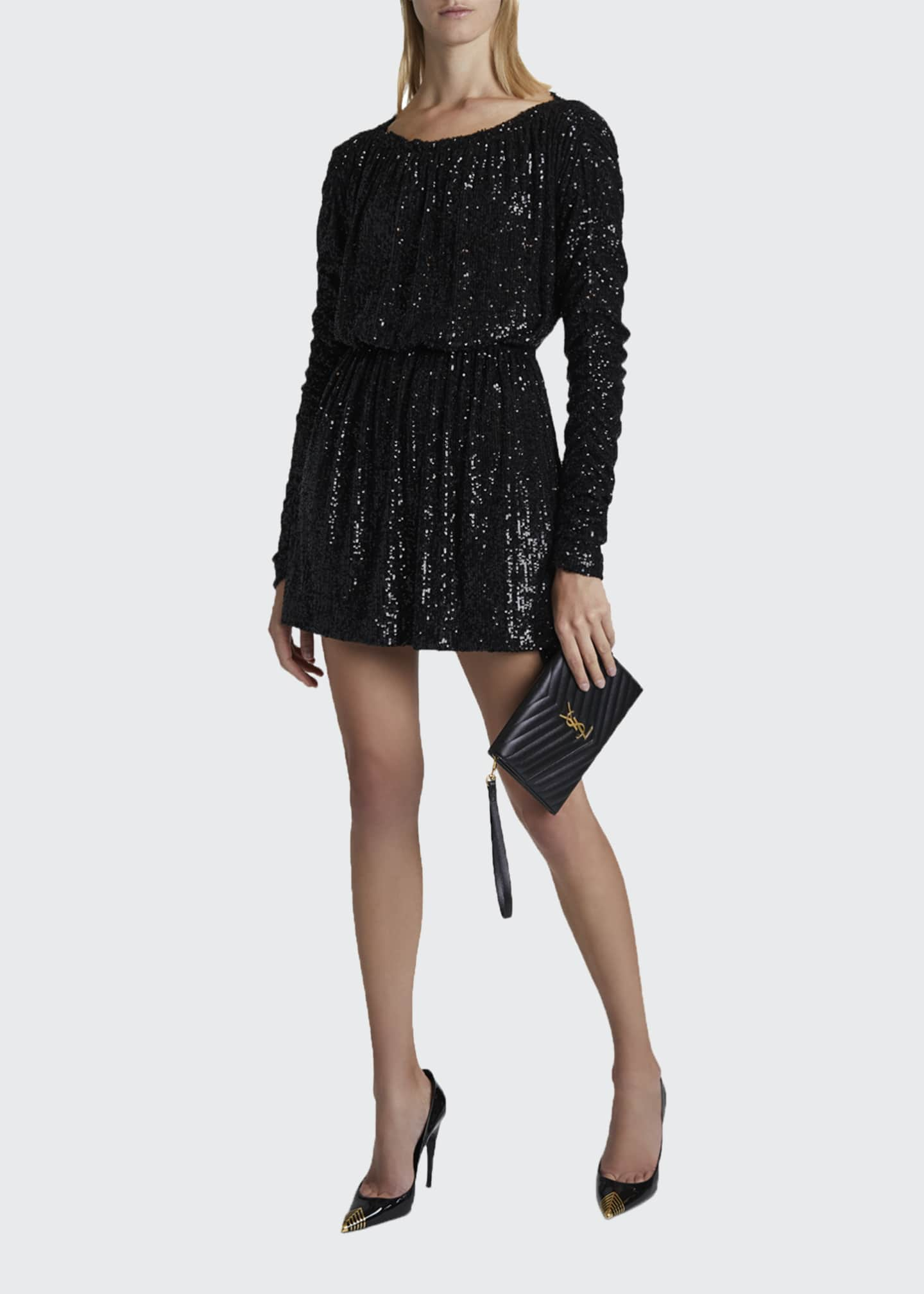 Image 1 of 4: Sequined Tie-Waist Cocktail Dress