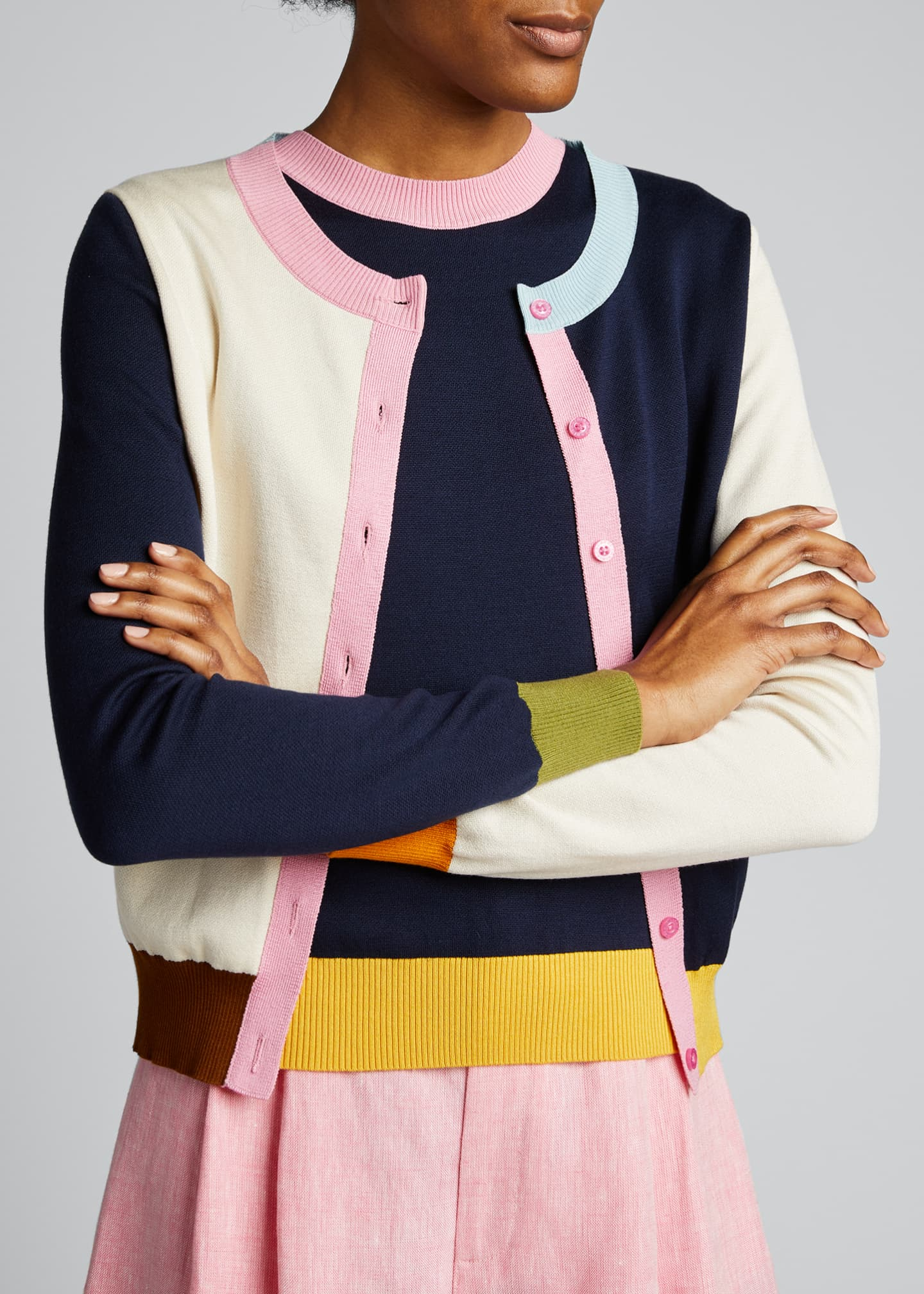 Image 4 of 5: Colorblock Silk Cardigan