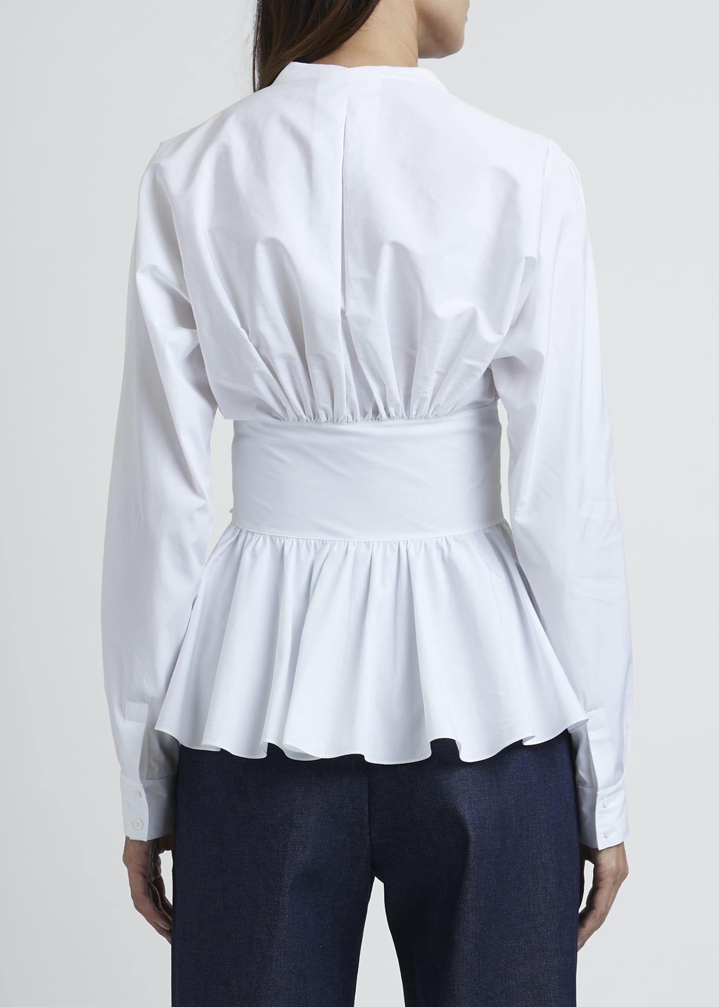 Image 2 of 3: Poplin Two-Bow Waist Detail Ls V-neck B