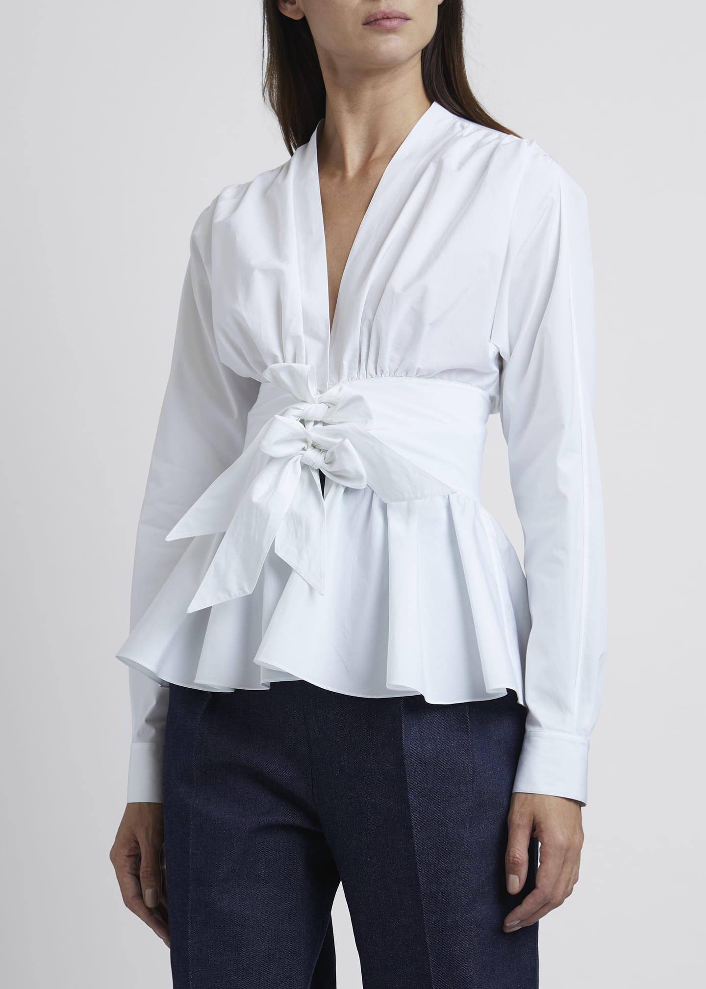 Image 3 of 3: Poplin Two-Bow Waist Detail Ls V-neck B