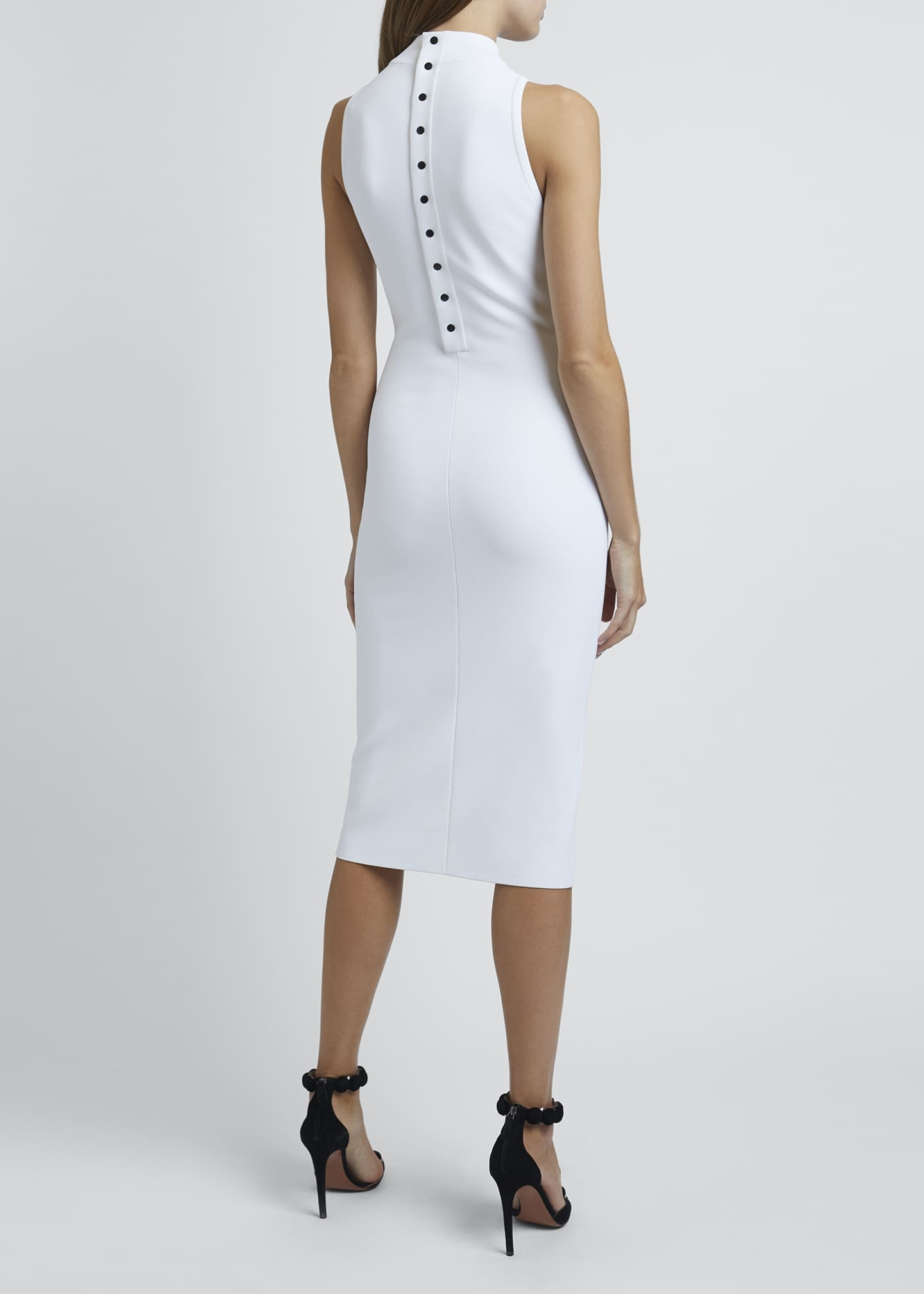 Image 2 of 4: Mock-Neck Sleeveless Bodycon Below-Knee Dress