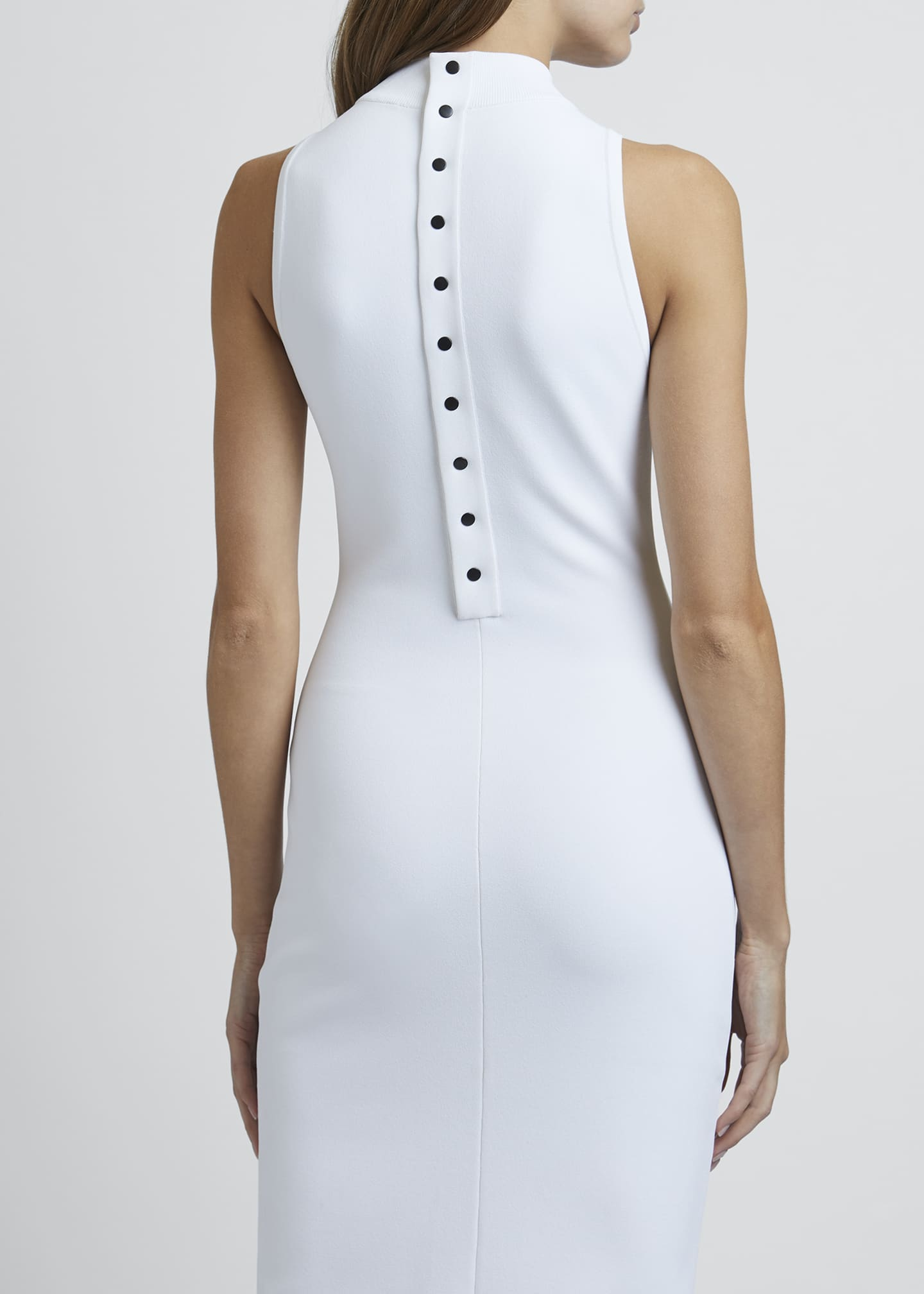 Image 3 of 4: Mock-Neck Sleeveless Bodycon Below-Knee Dress