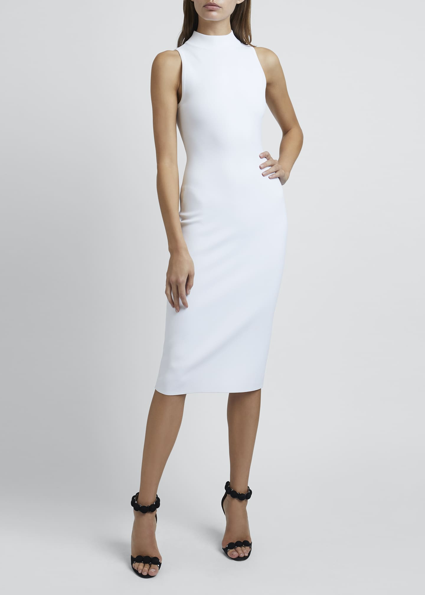 Image 1 of 4: Mock-Neck Sleeveless Bodycon Below-Knee Dress