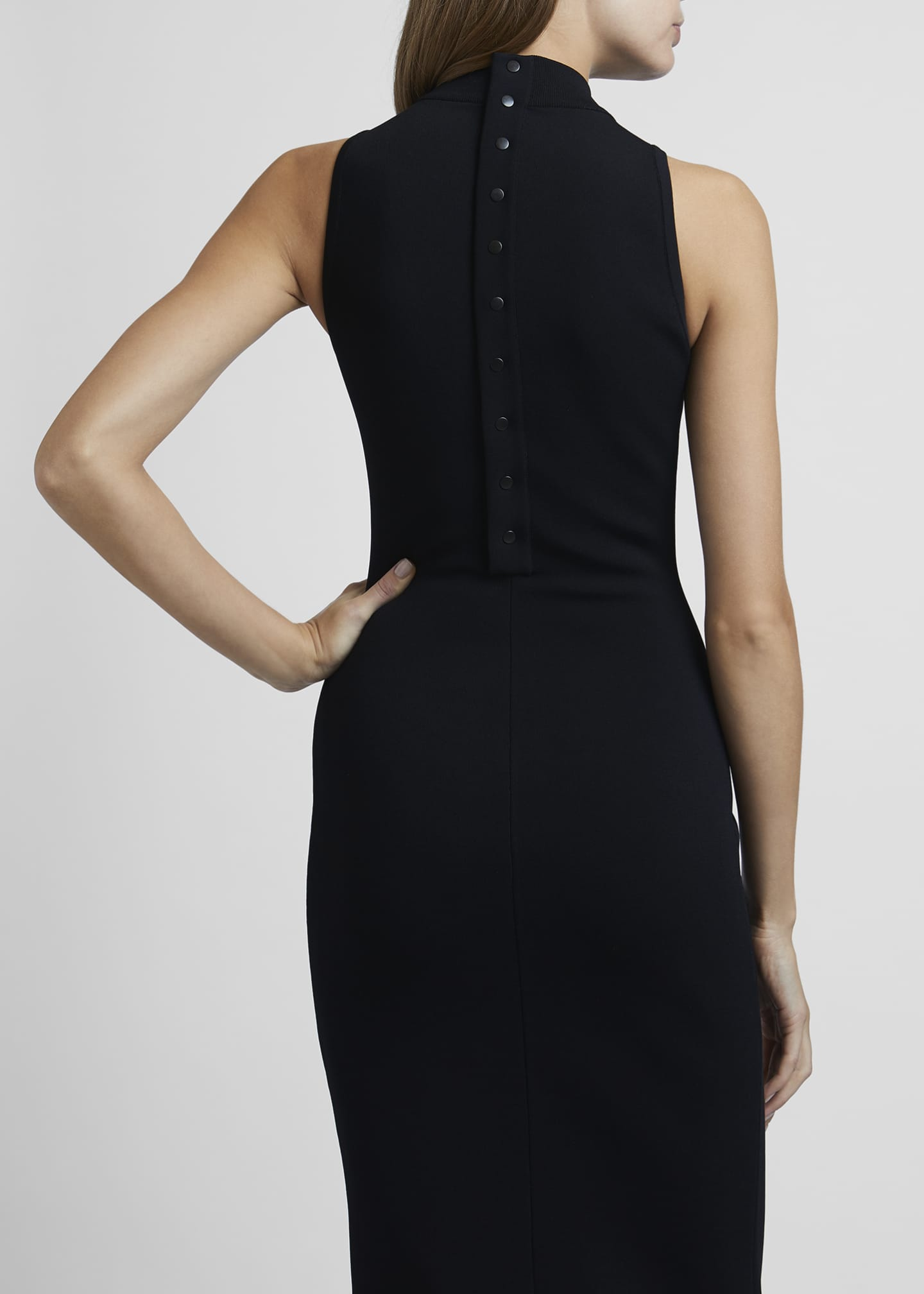 Image 4 of 4: Mock-Neck Sleeveless Bodycon Below-Knee Dress