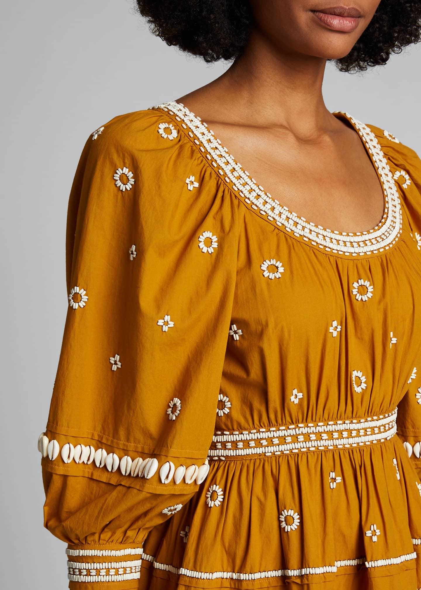 Image 4 of 5: Adama Embroidered Long-Sleeve Dress