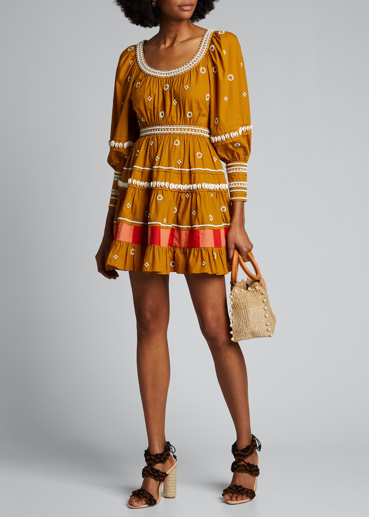Image 1 of 5: Adama Embroidered Long-Sleeve Dress