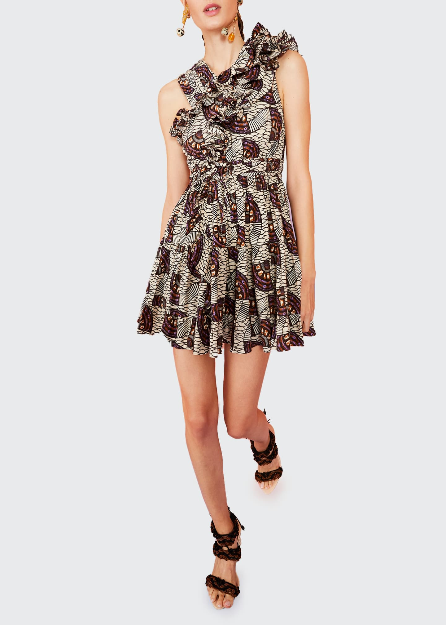 Image 1 of 1: Iliana Printed Ruffle Fit-and-Flare Dress