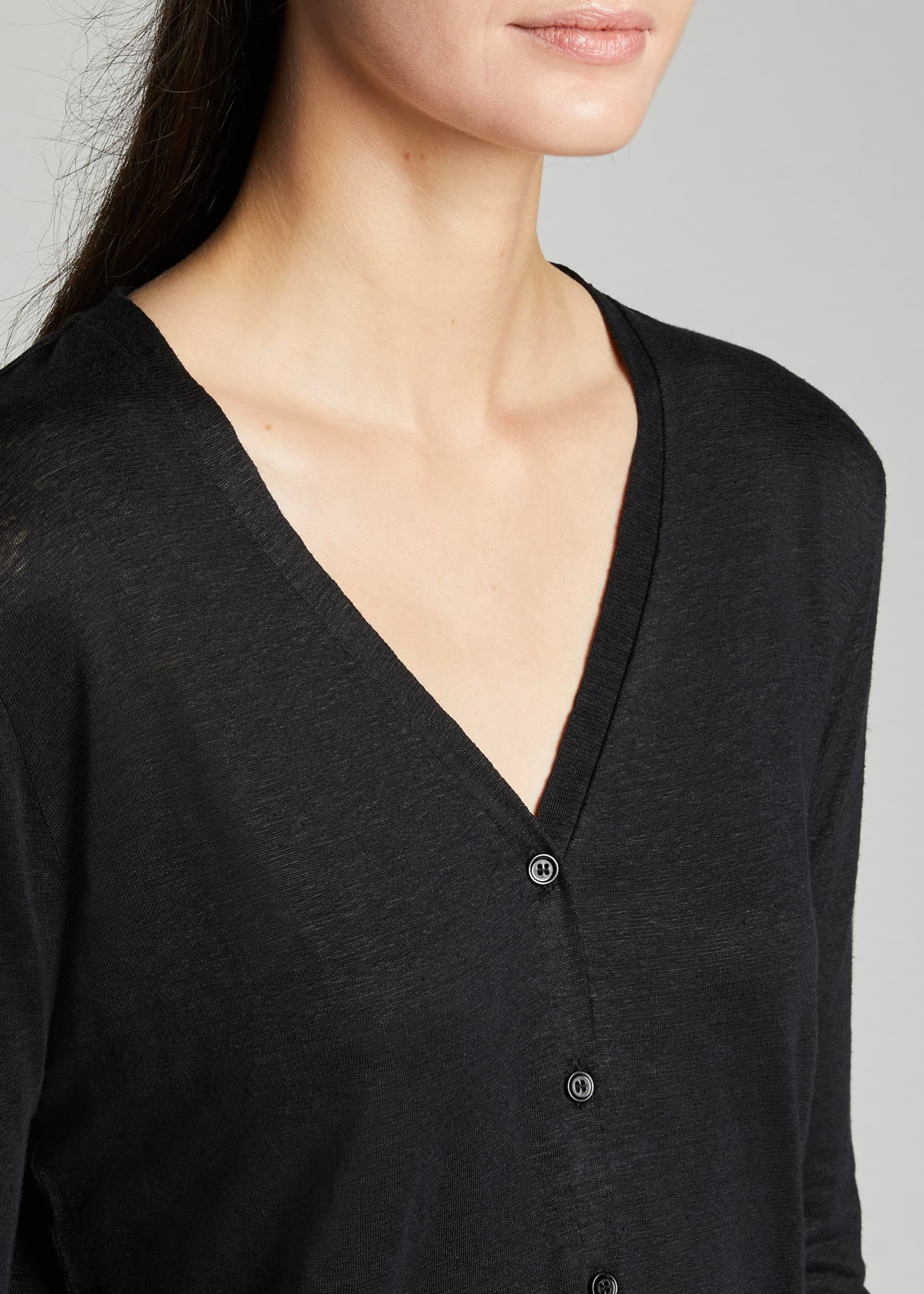 Image 4 of 5: V-Neck Button-Down Long-Sleeve Stretch-Linen Cardigan