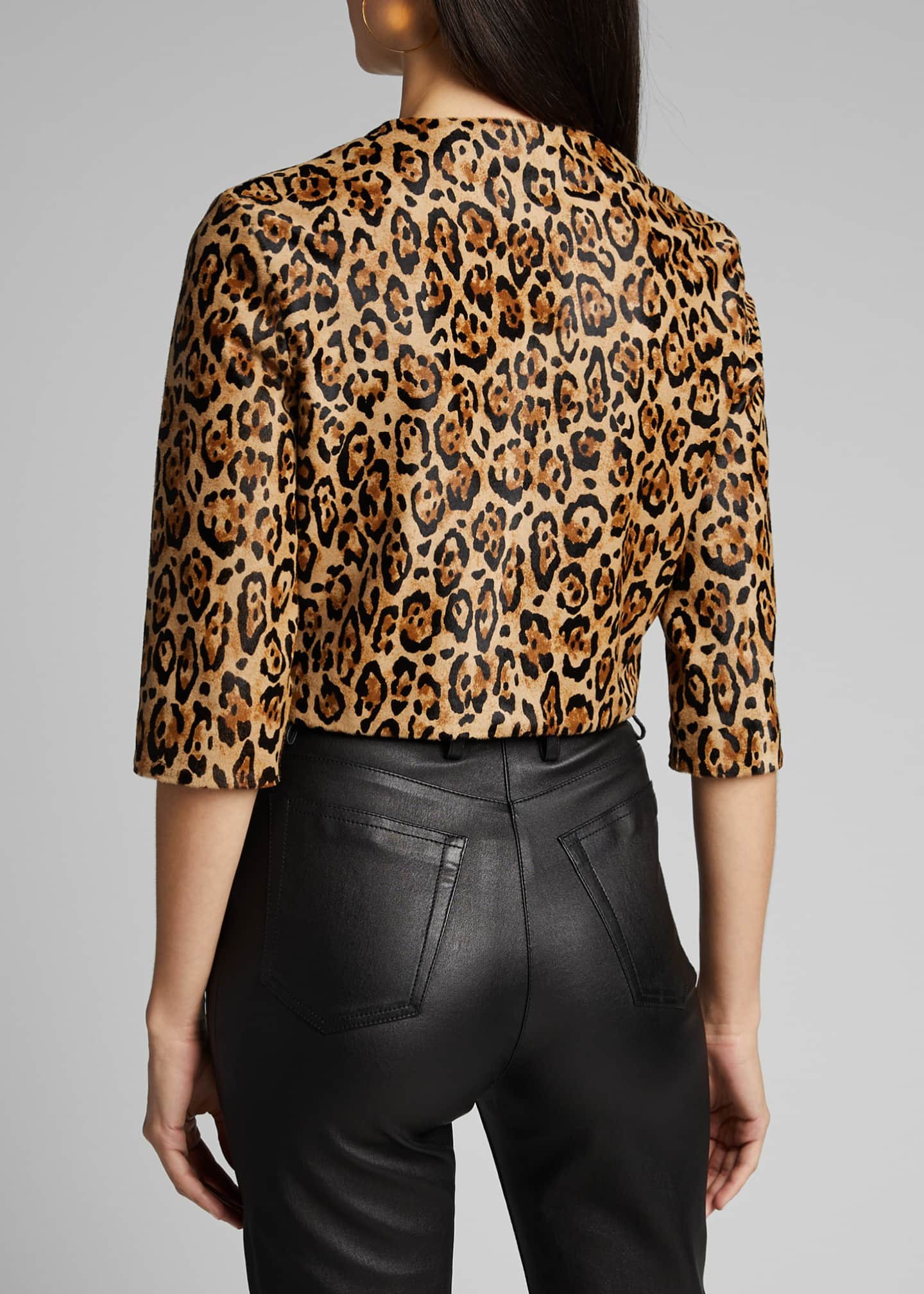 Image 2 of 5: Bengal Leopard Calf Hair Bolero Jacket