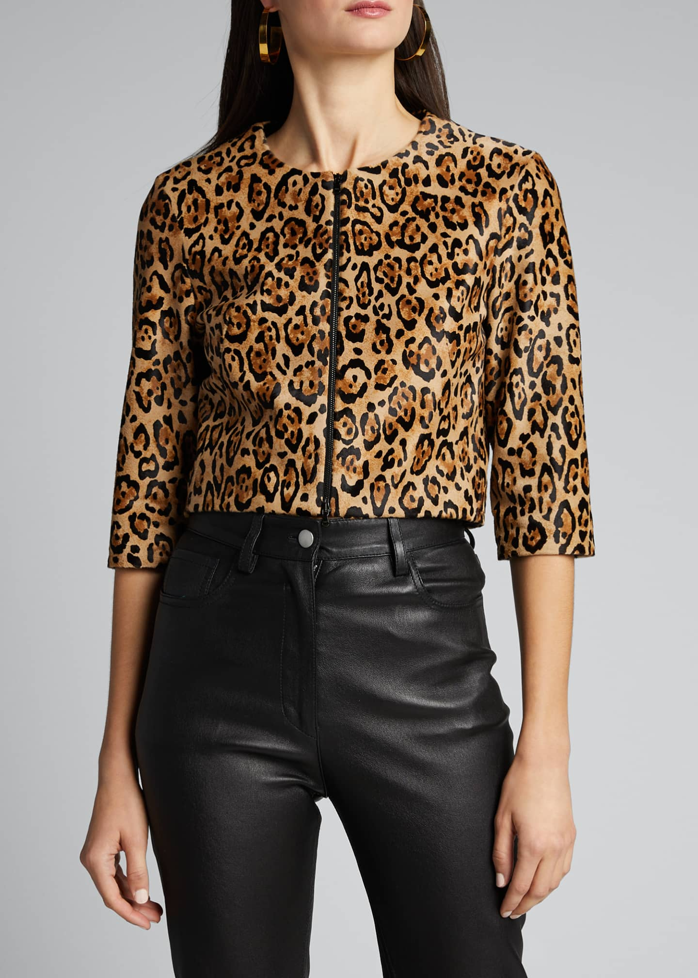 Image 3 of 5: Bengal Leopard Calf Hair Bolero Jacket