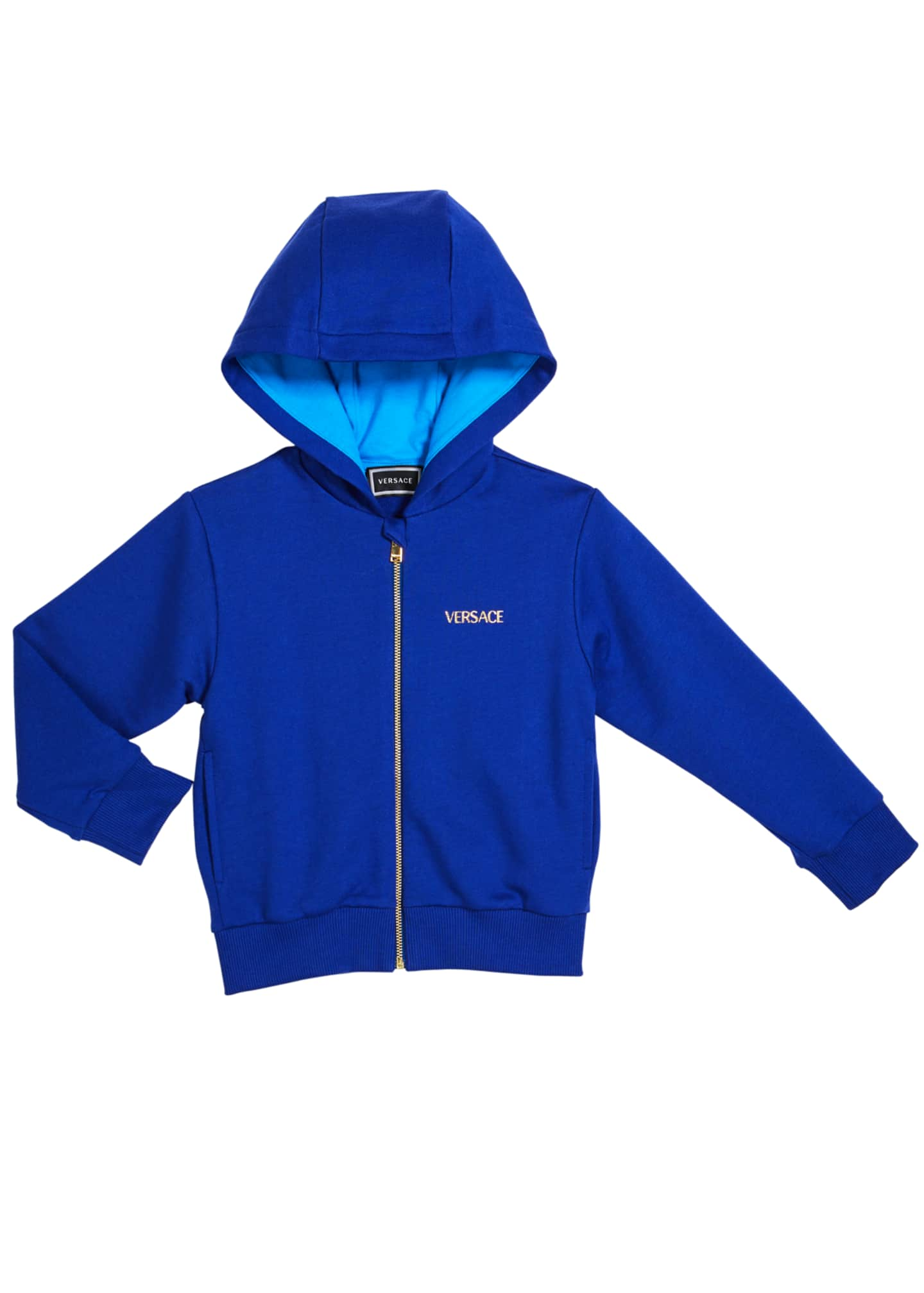 Image 1 of 2: Boy's Logo Zip-Up Hooded Jacket, Size 8-14
