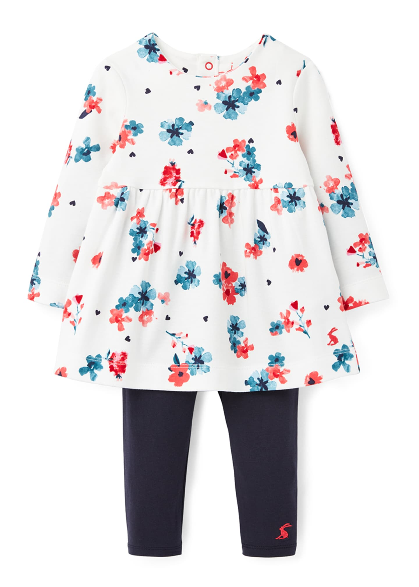 Image 1 of 4: Girl's Christina Floral Long-Sleeve Dress w/ Solid Leggings, Size 3-24 Months