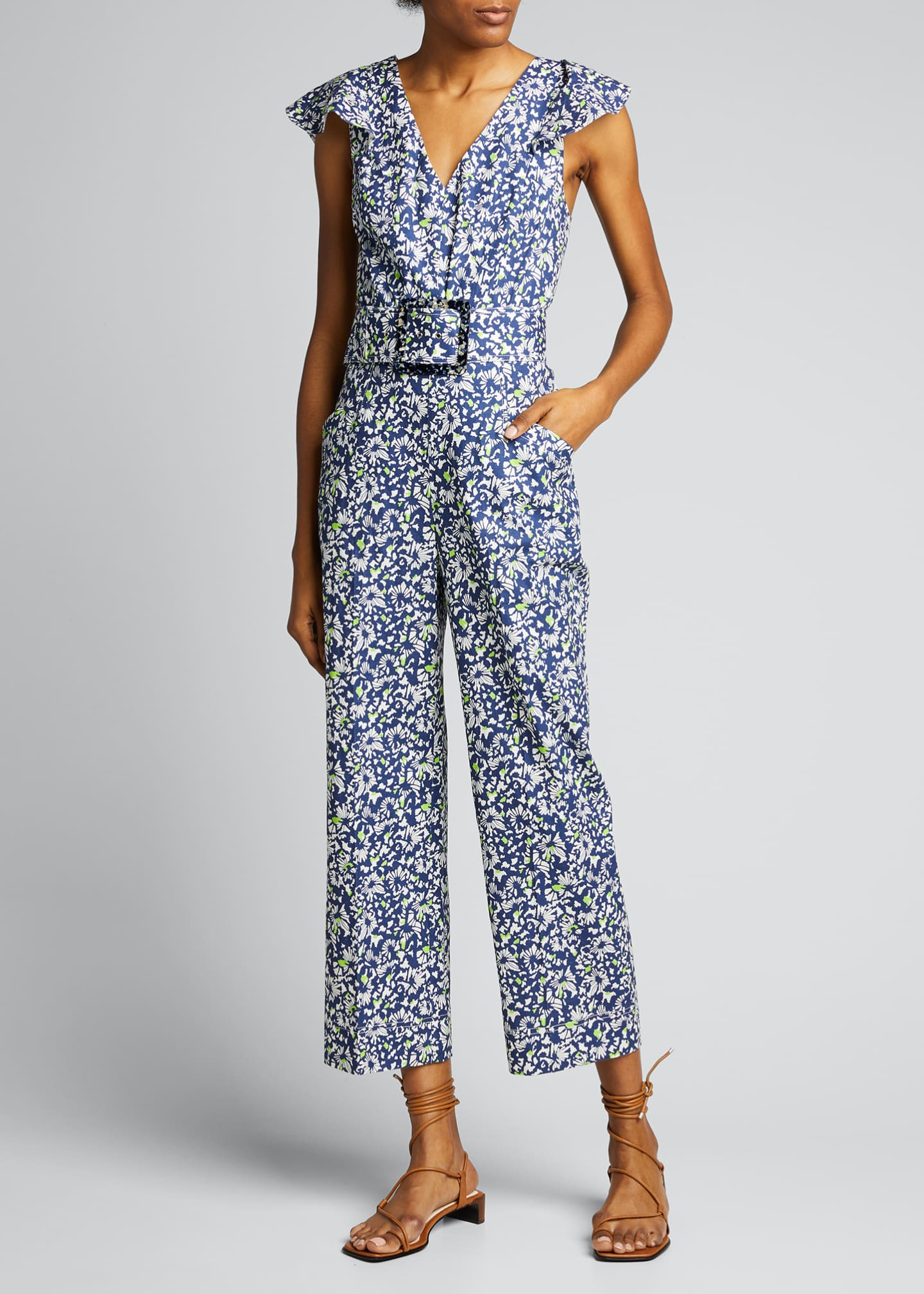 Image 3 of 5: Avalon Floral-Print Belted Jumpsuit