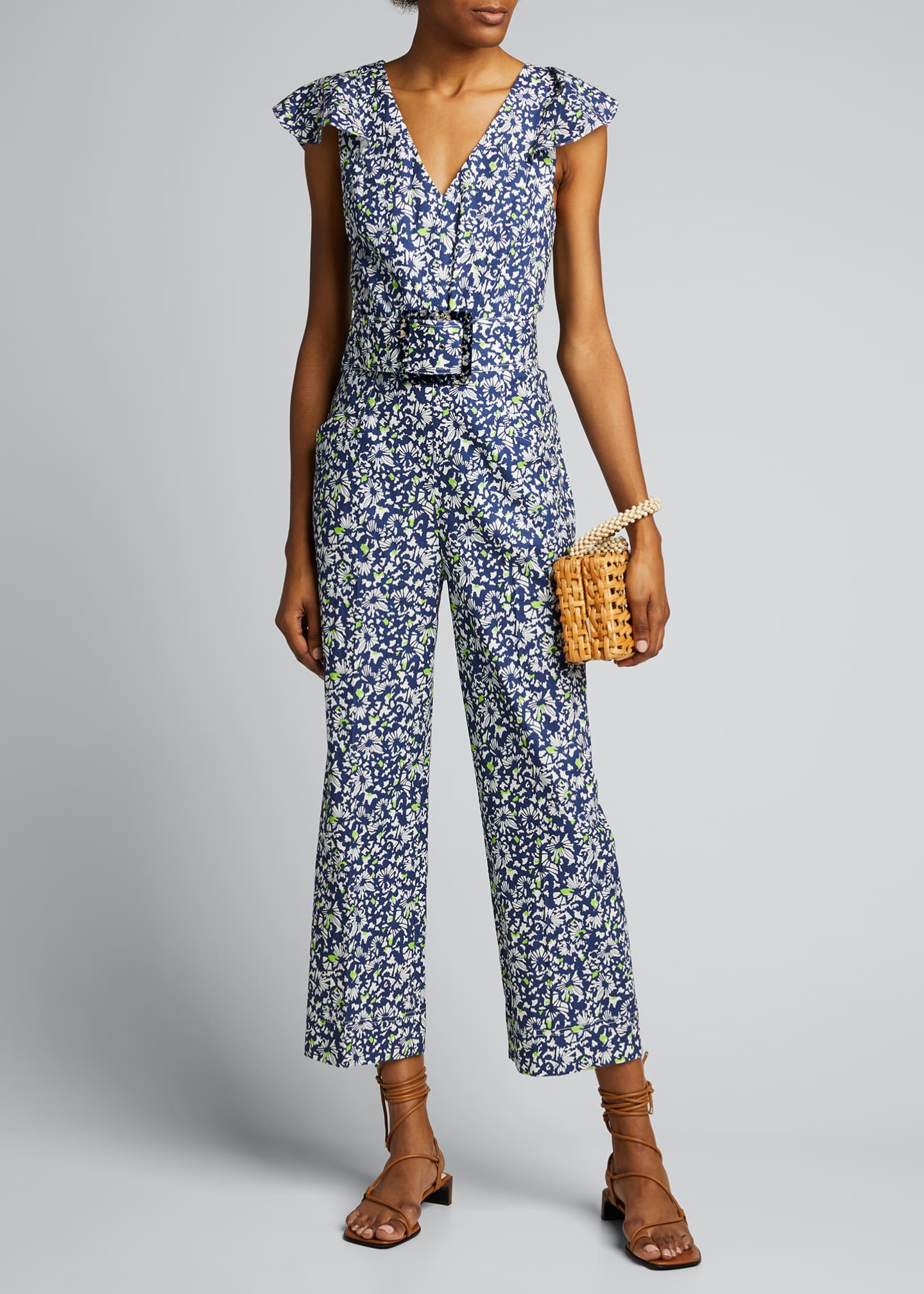 Image 1 of 5: Avalon Floral-Print Belted Jumpsuit