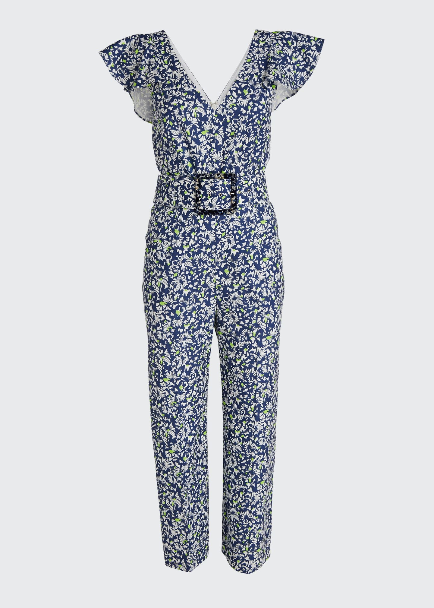 Image 5 of 5: Avalon Floral-Print Belted Jumpsuit