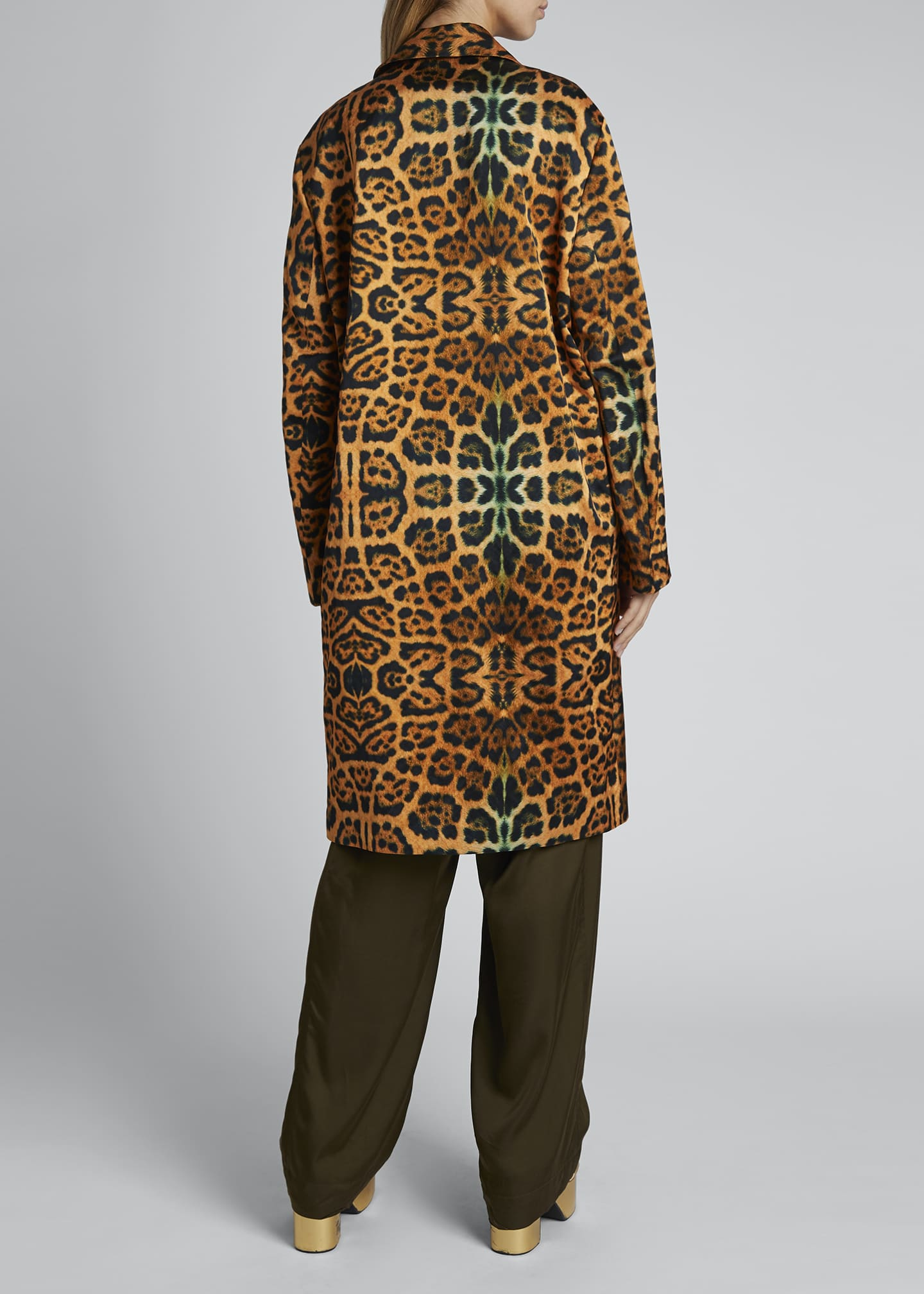 Image 2 of 3: Rolta Leopard Button Coat