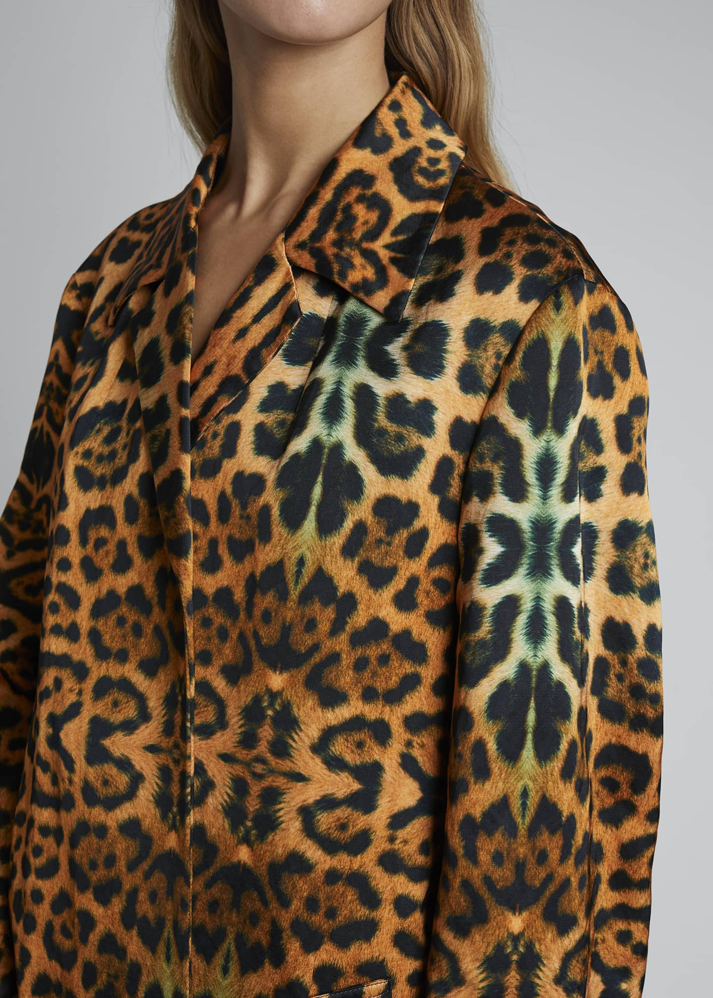 Image 3 of 3: Rolta Leopard Button Coat