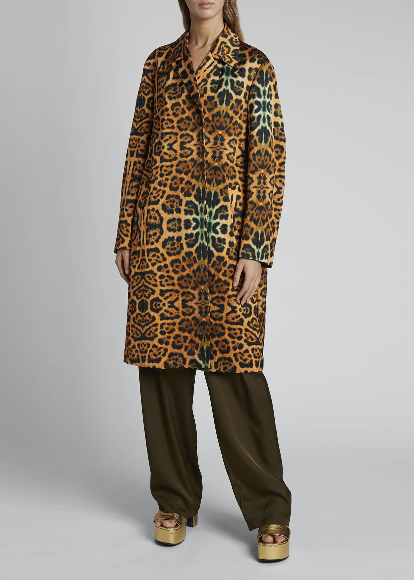 Image 1 of 3: Rolta Leopard Button Coat