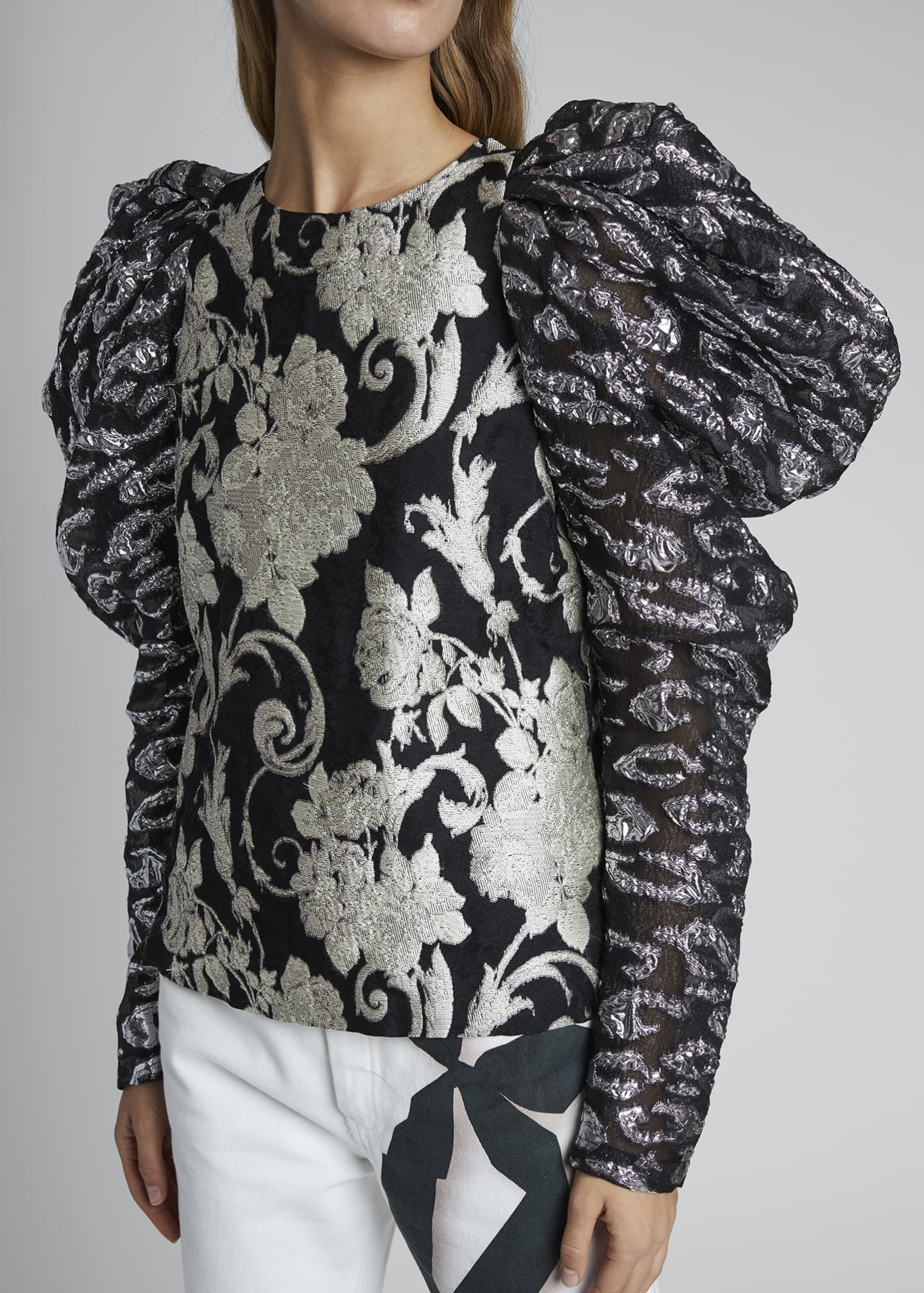 Image 3 of 3: Coal Puff-Sleeve Floral Top