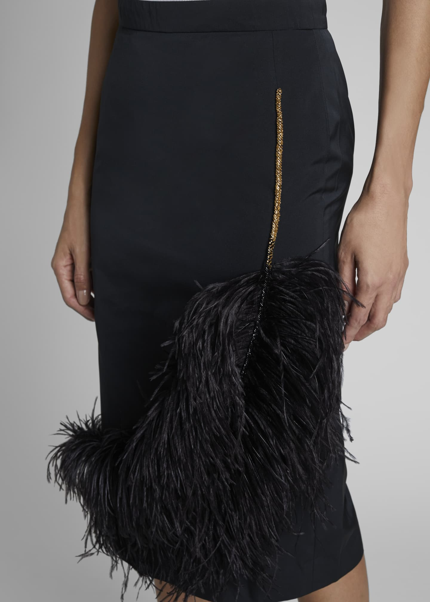 Image 3 of 3: Santony Feathered Pencil Skirt