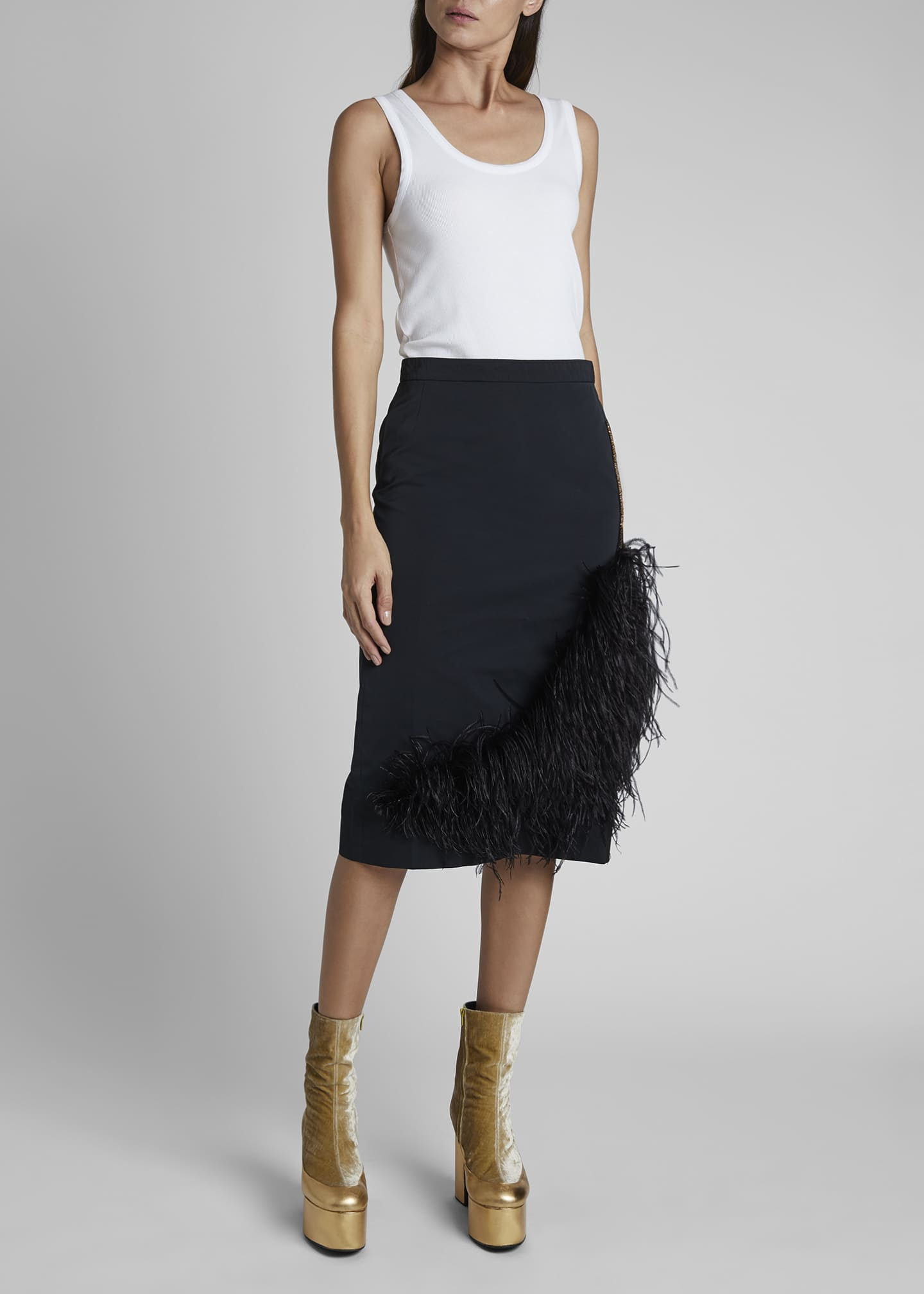 Image 1 of 3: Santony Feathered Pencil Skirt