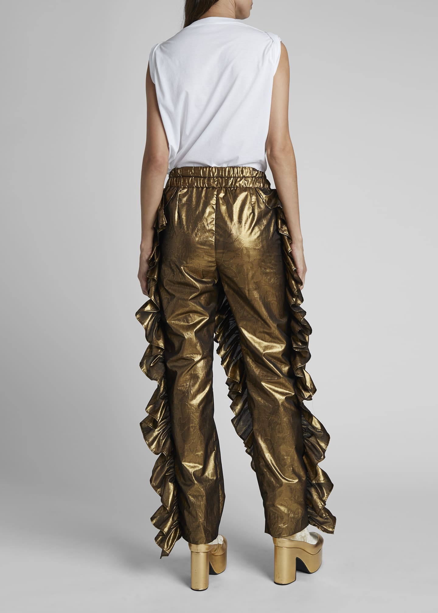 Image 2 of 4: Paz Metallic Ruffled Party Pants