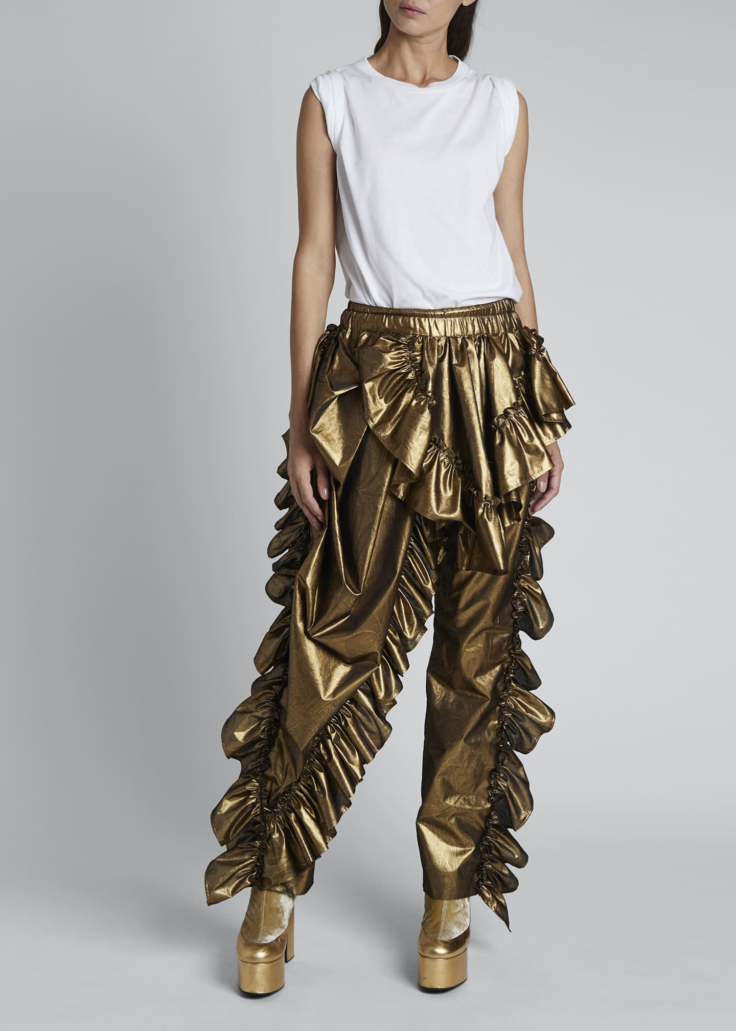 Image 3 of 4: Paz Metallic Ruffled Party Pants