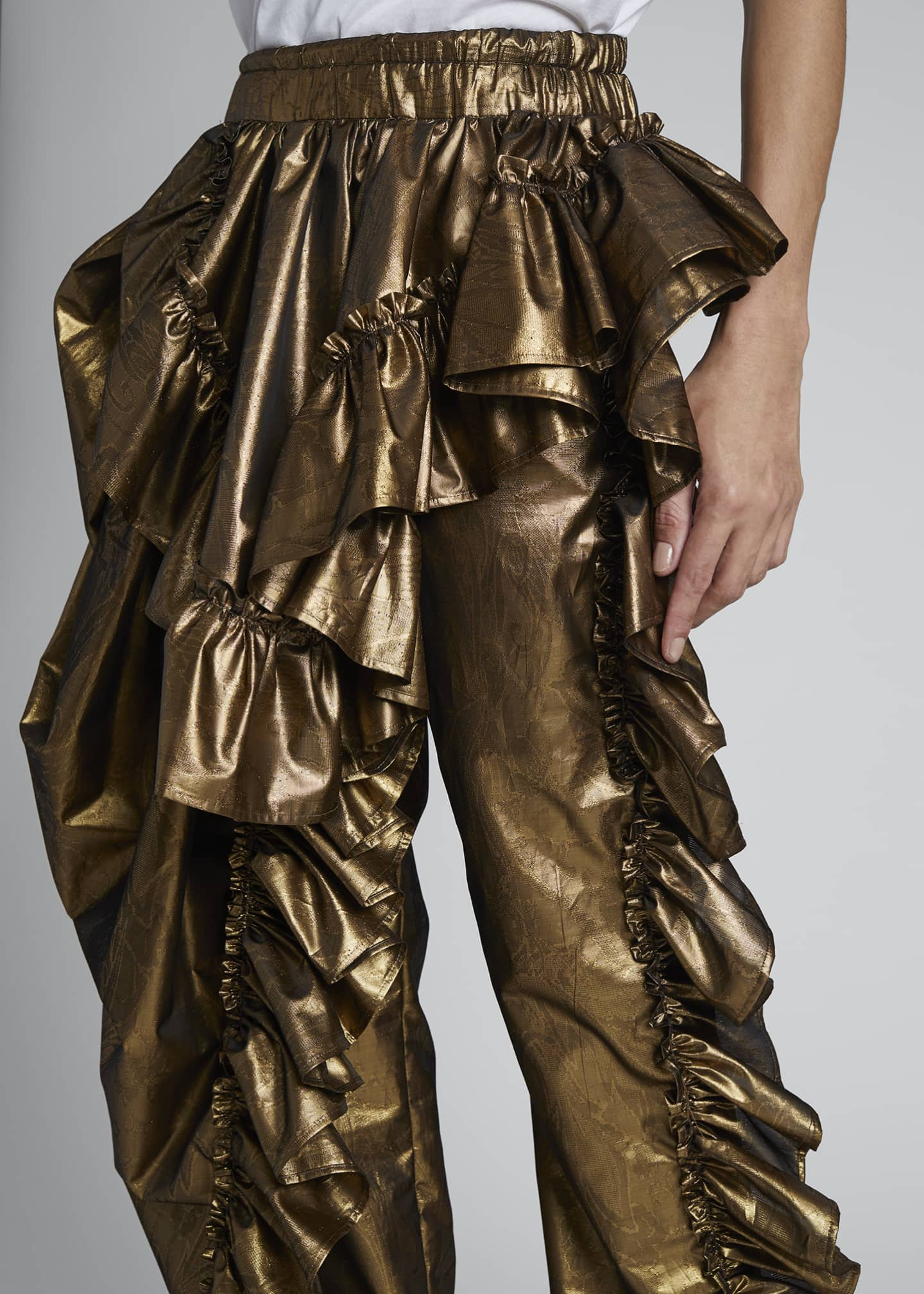 Image 4 of 4: Paz Metallic Ruffled Party Pants