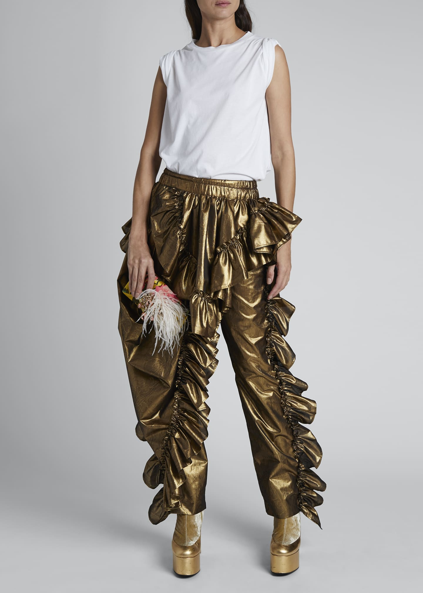 Image 1 of 4: Paz Metallic Ruffled Party Pants