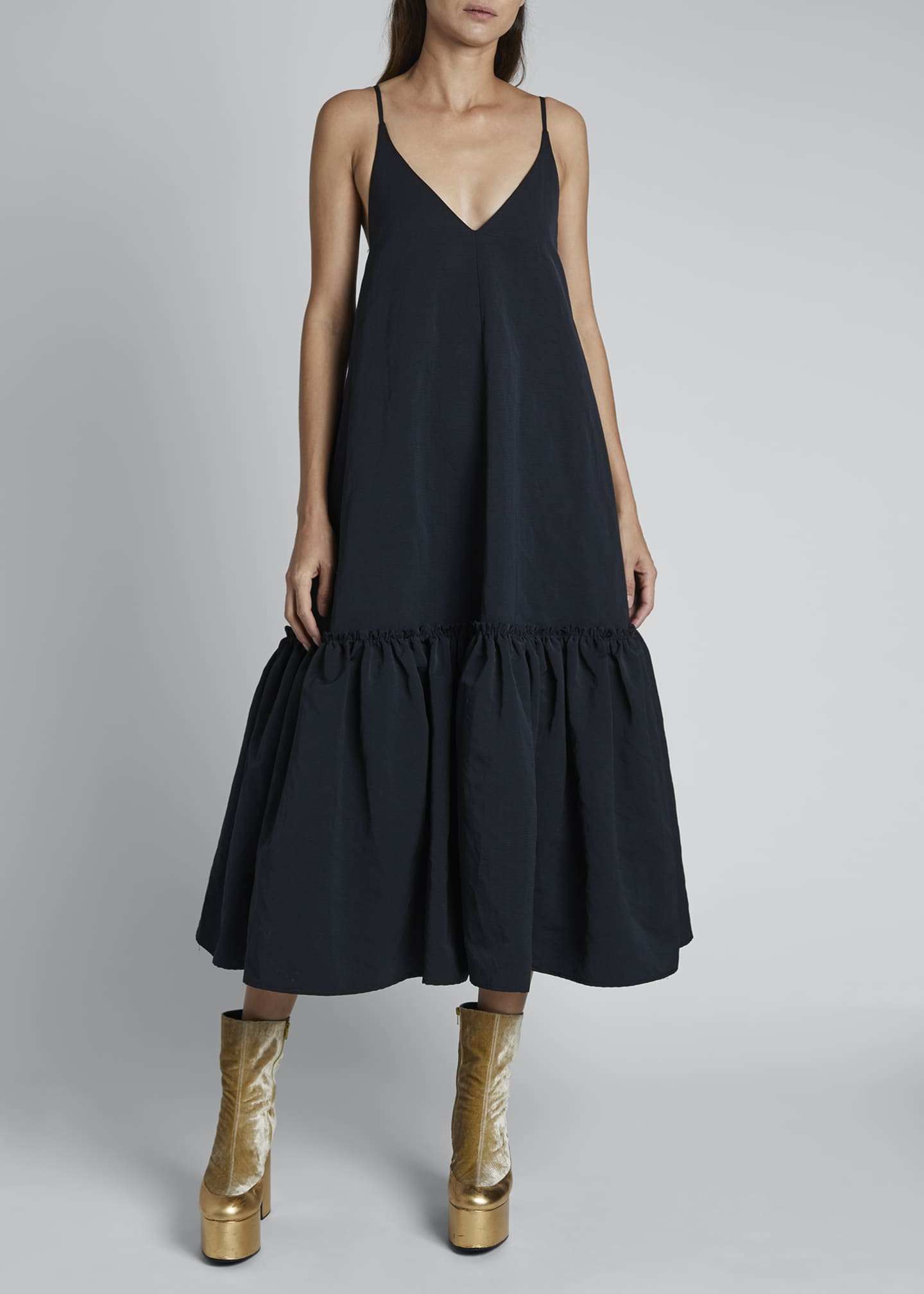 Image 3 of 3: Diba Ruffle-Hem Midi Slip Dress
