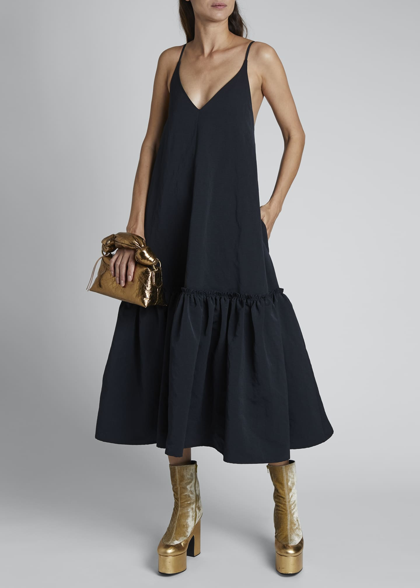 Image 1 of 3: Diba Ruffle-Hem Midi Slip Dress