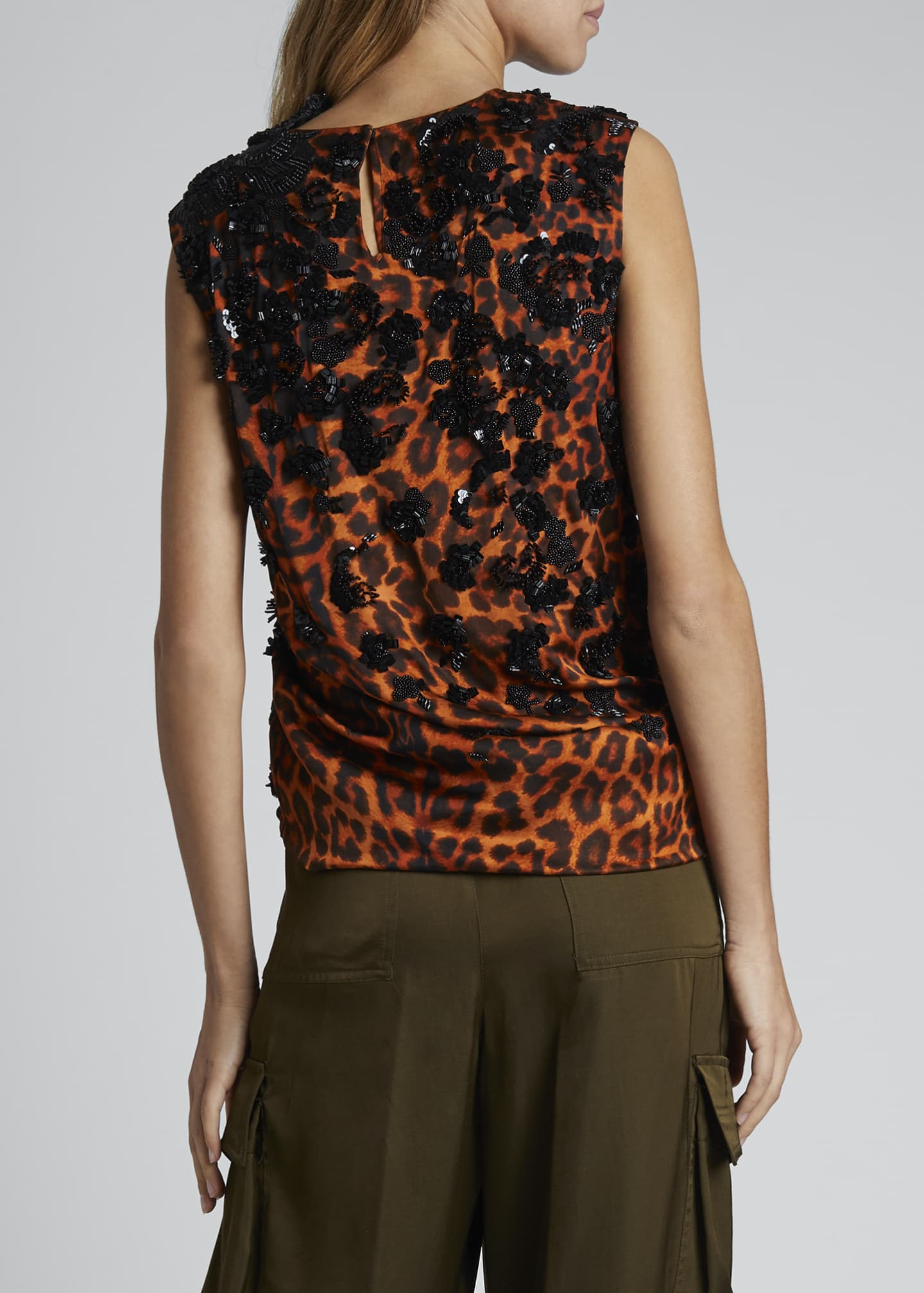 Image 2 of 3: Leopard Embroidered Ruched Top